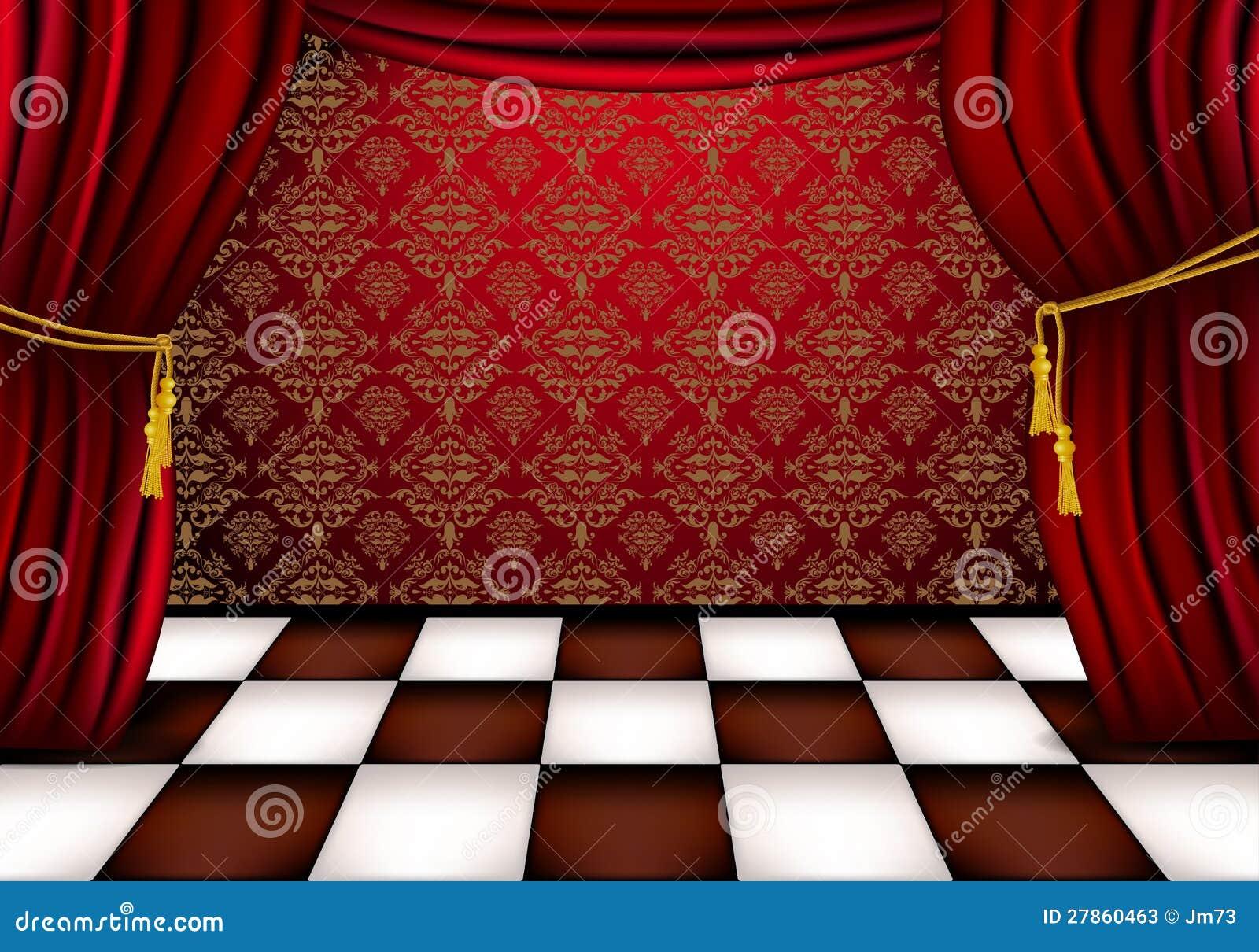 Z czerwonymi zasłonami królewska sala