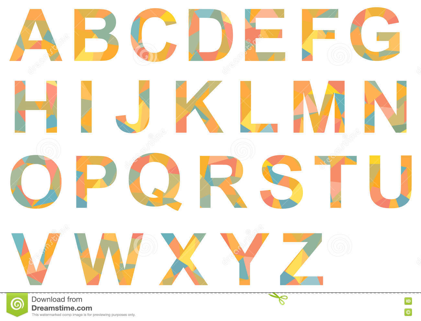 A-Z D'alphabet, Coloré Simple De Lettres Modelé Illustration de Vecteur - Image: 71912032