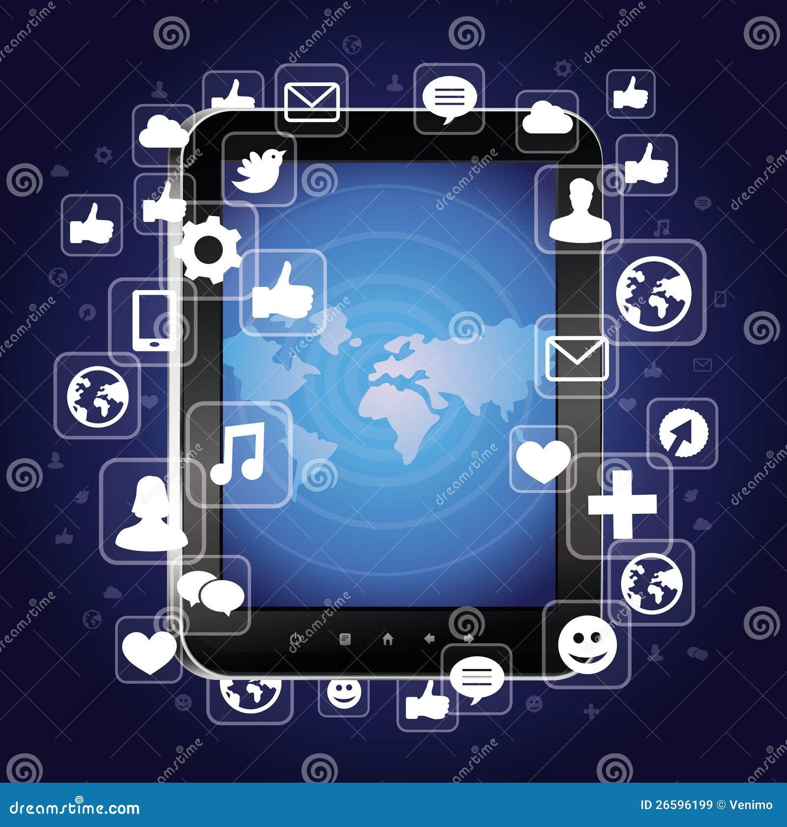 Z jaskrawy ogólnospołecznymi medialnymi ikonami pastylka komputer osobisty
