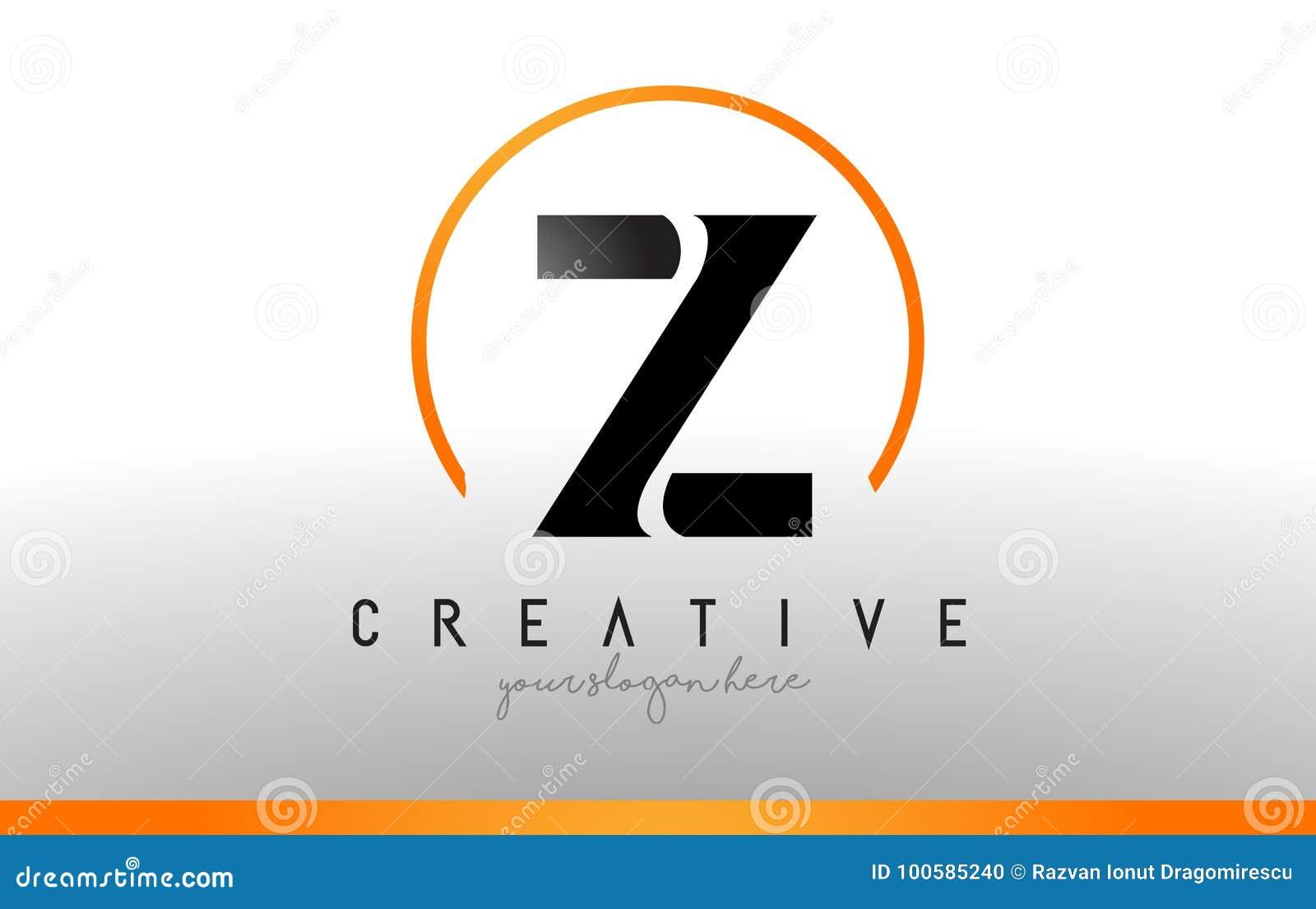 Z Letter Logo Design With Black Orange Color Cool Modern Icon T