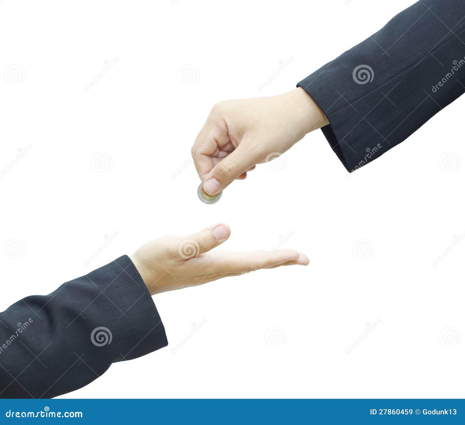 Z monetą męska ręka