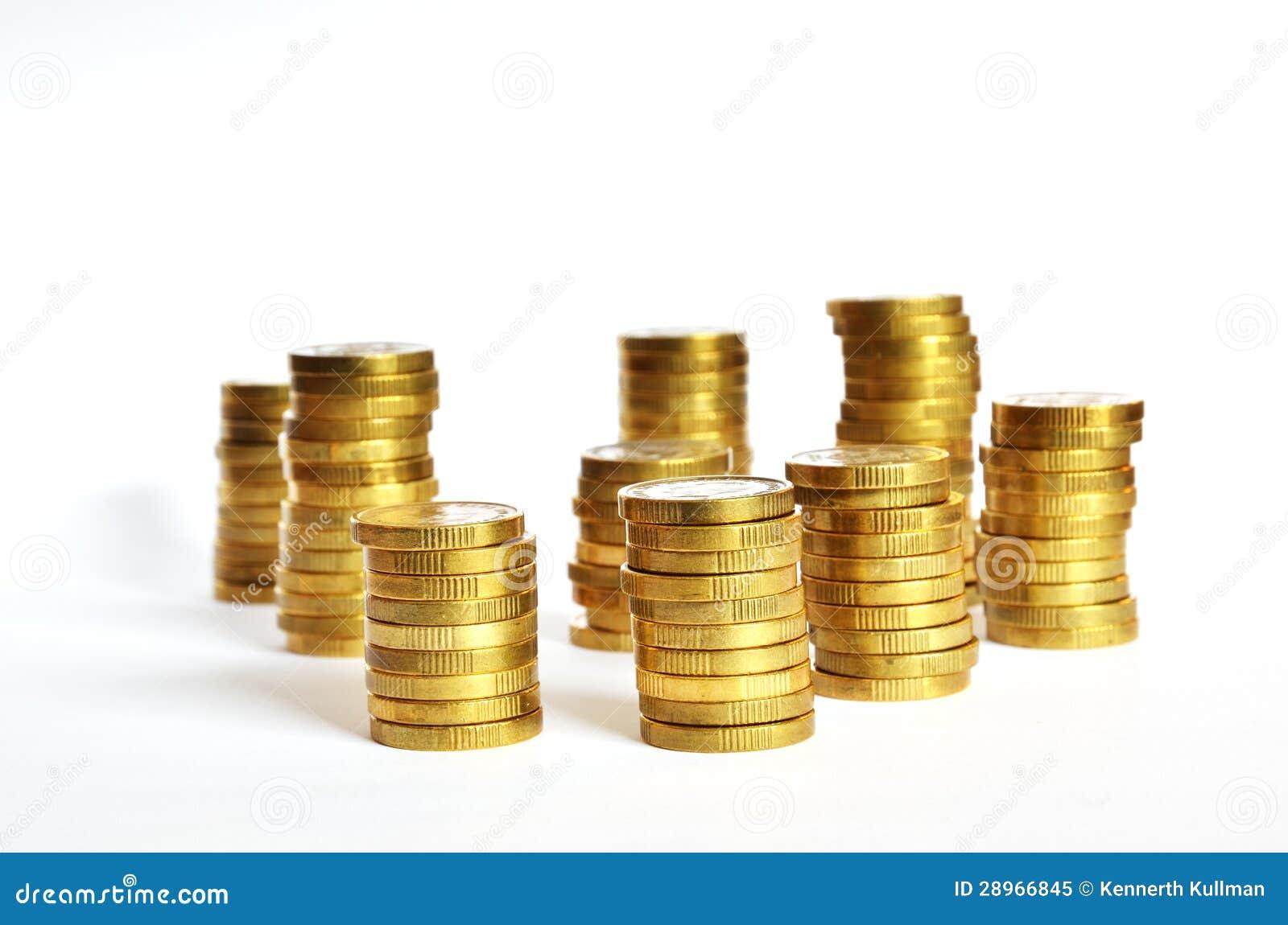 Złoci moneta stosy