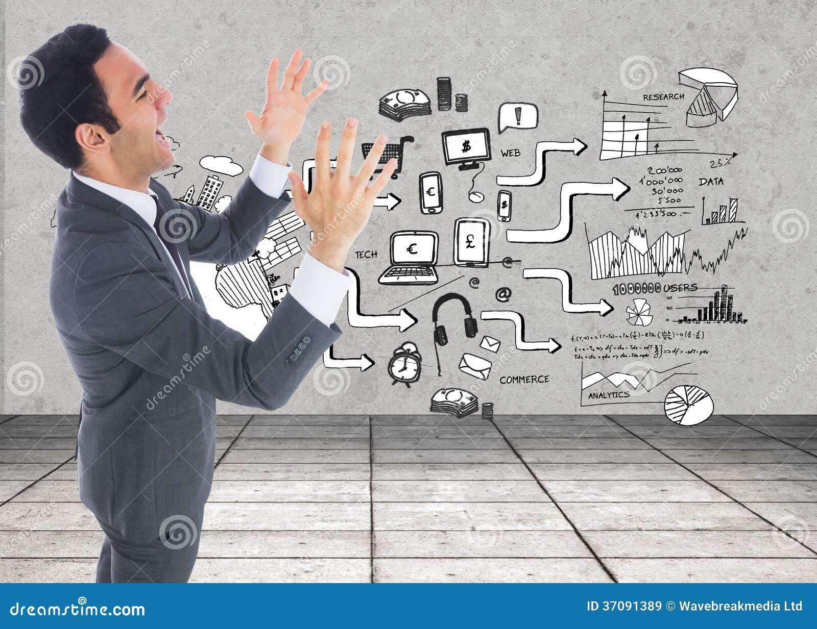 Download Z Podnieceniem Biznesmen Z Rękami Podnosić Obraz Stock - Obraz złożonej z markham, grafika: 37091389