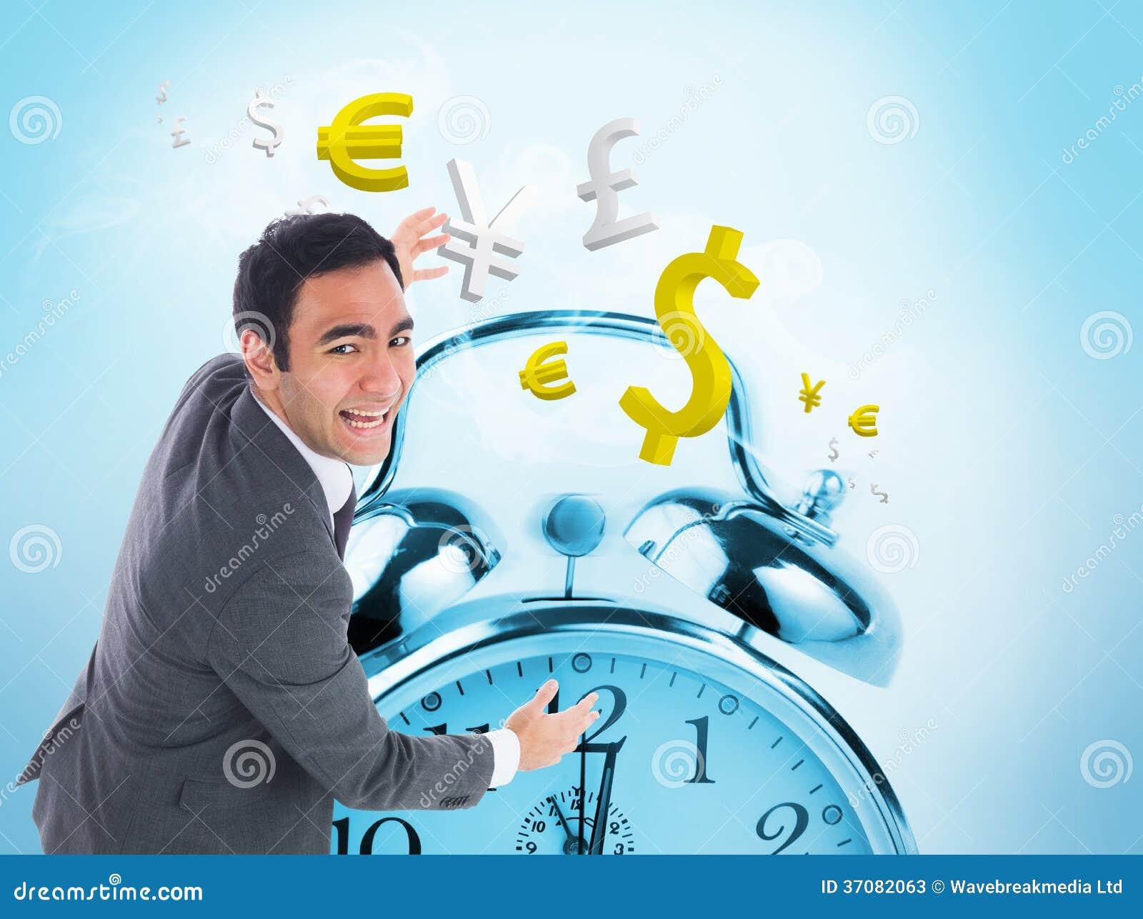 Download Z Podnieceniem Biznesmena łapanie Obraz Stock - Obraz złożonej z euro, alarm: 37082063