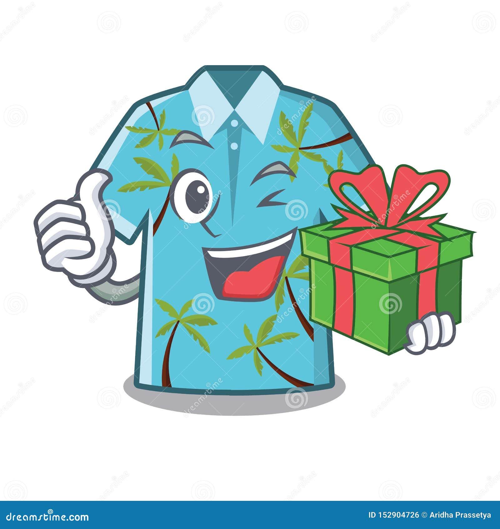 Z prezentem hawajczyk koszula składali w kreskówki szafie