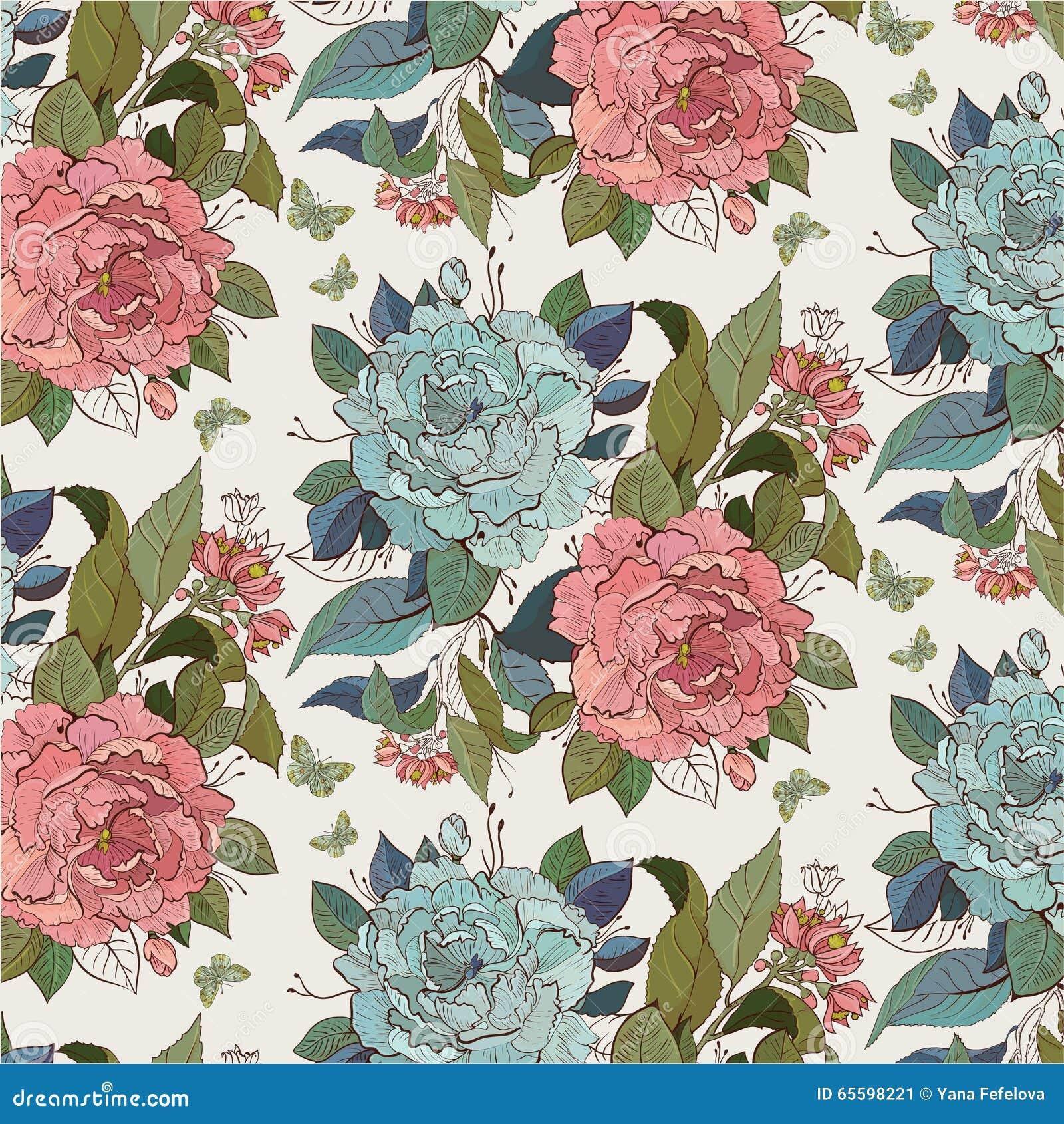 Z różami kwiecisty bezszwowy wzór