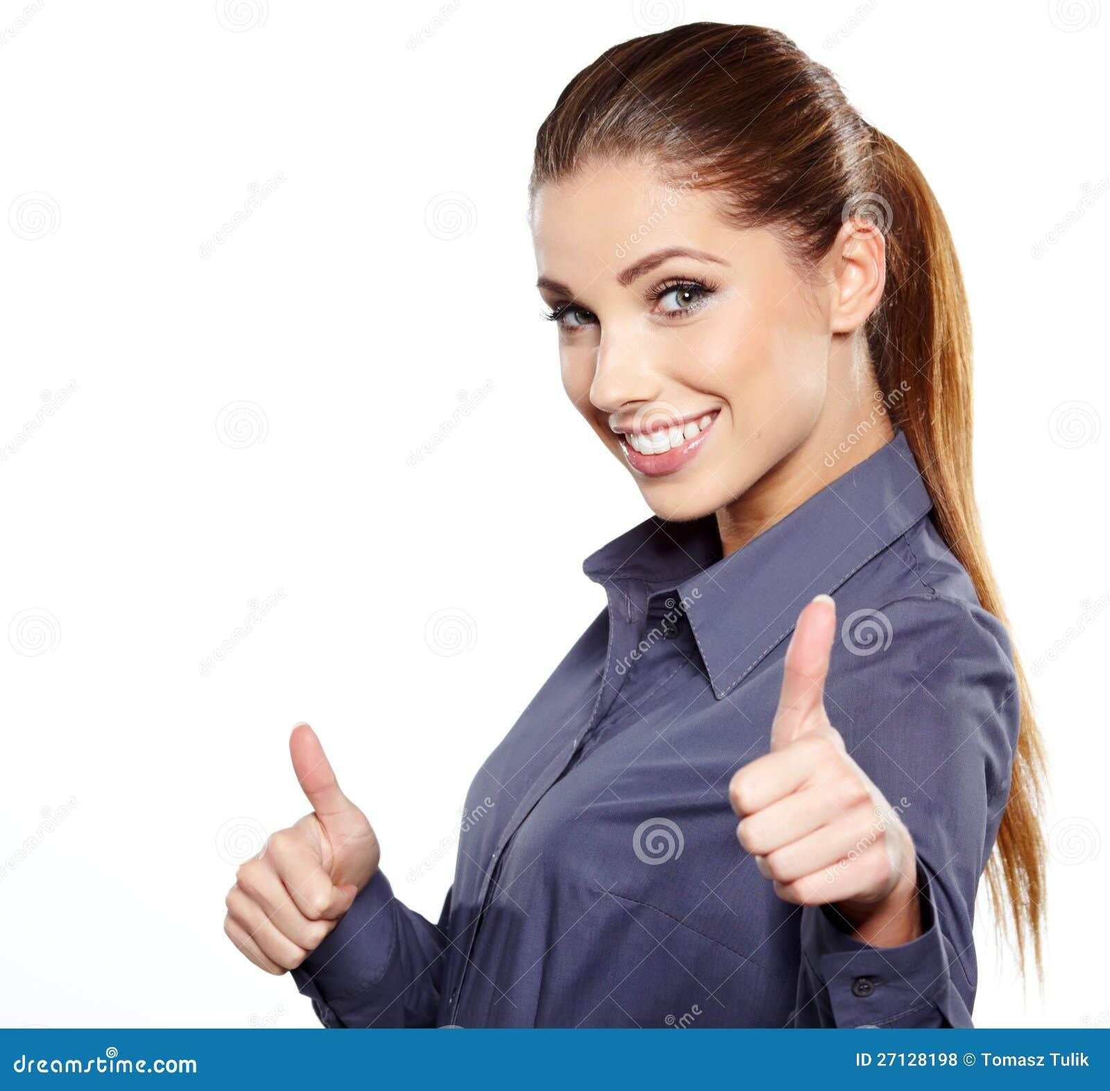 Z ręka biznesowym znakiem biznesowa kobieta