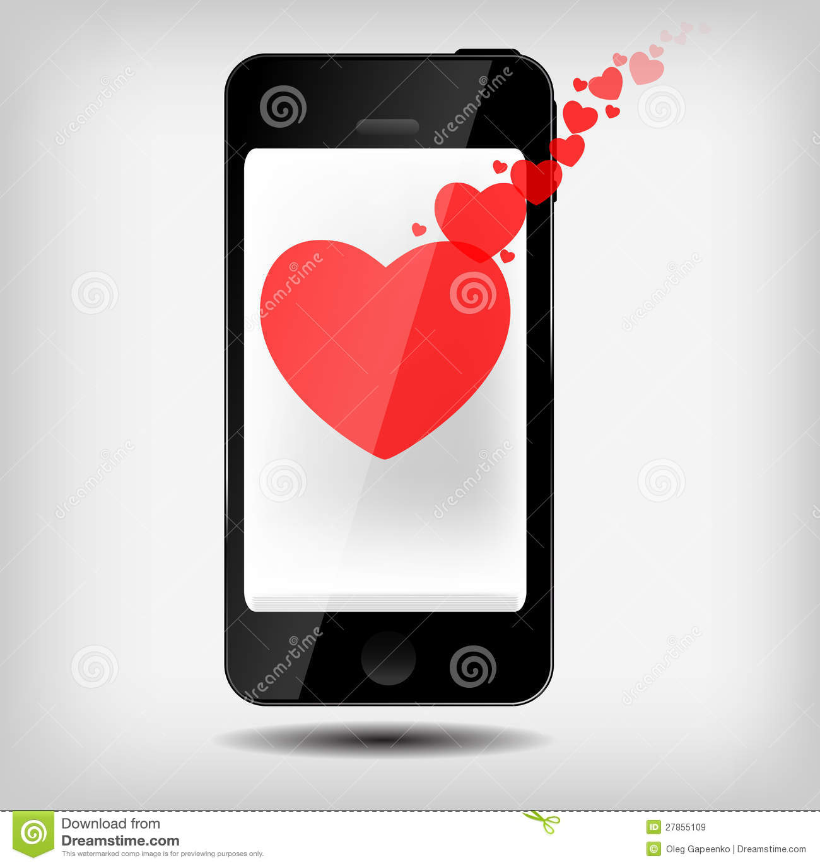 Z serce wektorem abstrakcjonistyczny telefon komórkowy