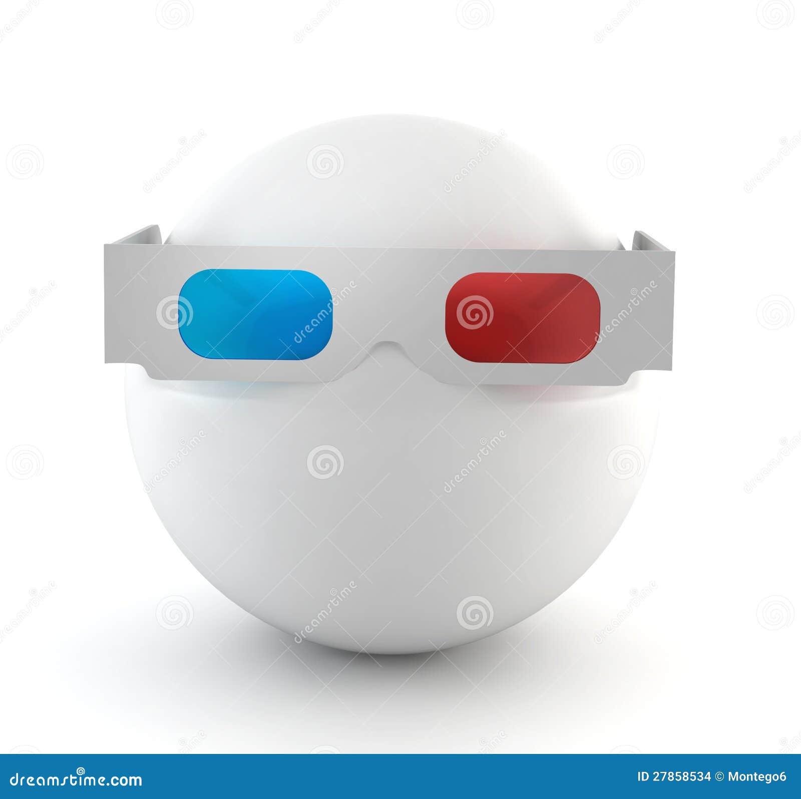 Z szkłami biały piłka 3d