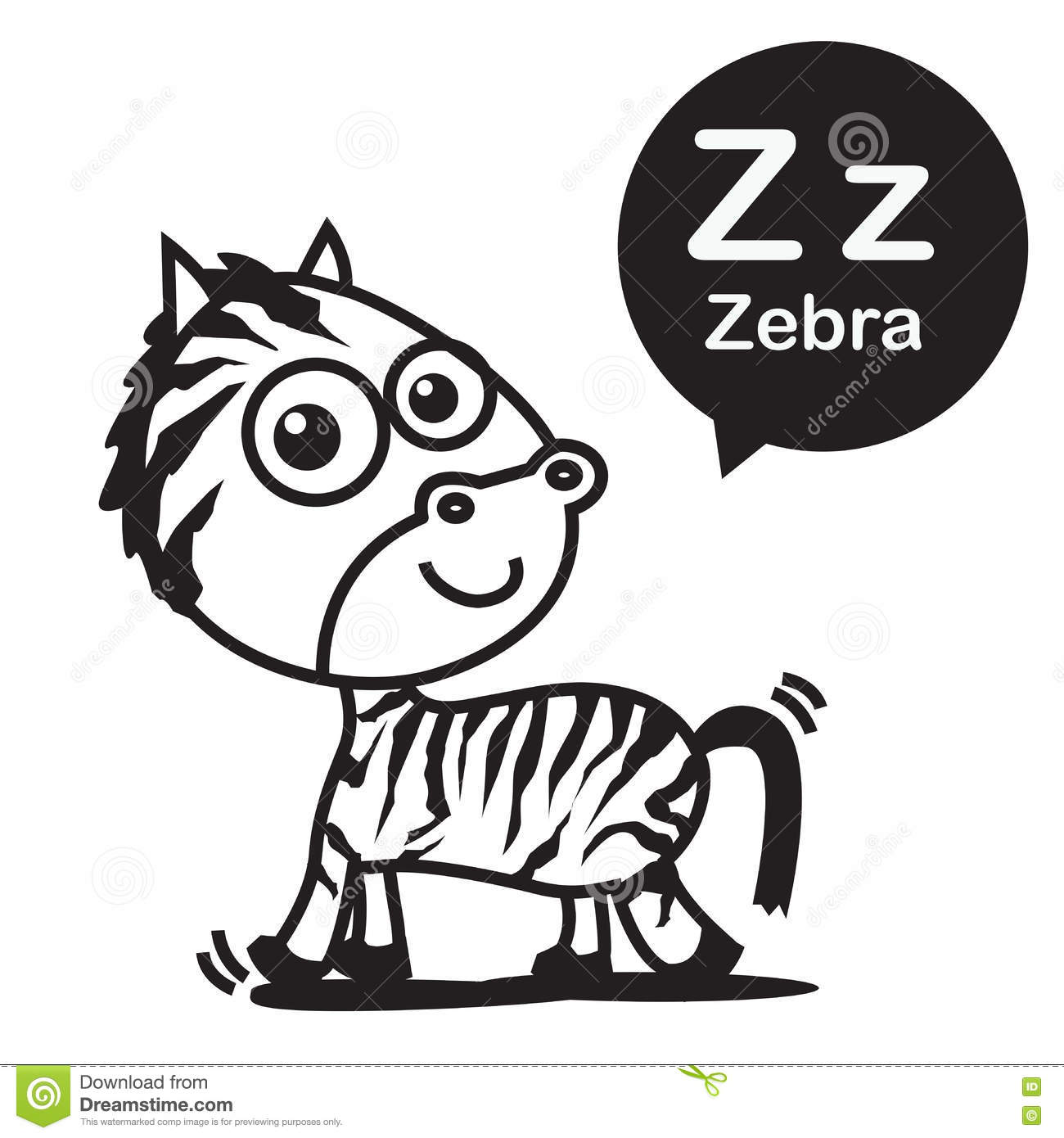 Download Z Zebra Cartoon And Alphabet For Children To Learning Colori Stock Vector