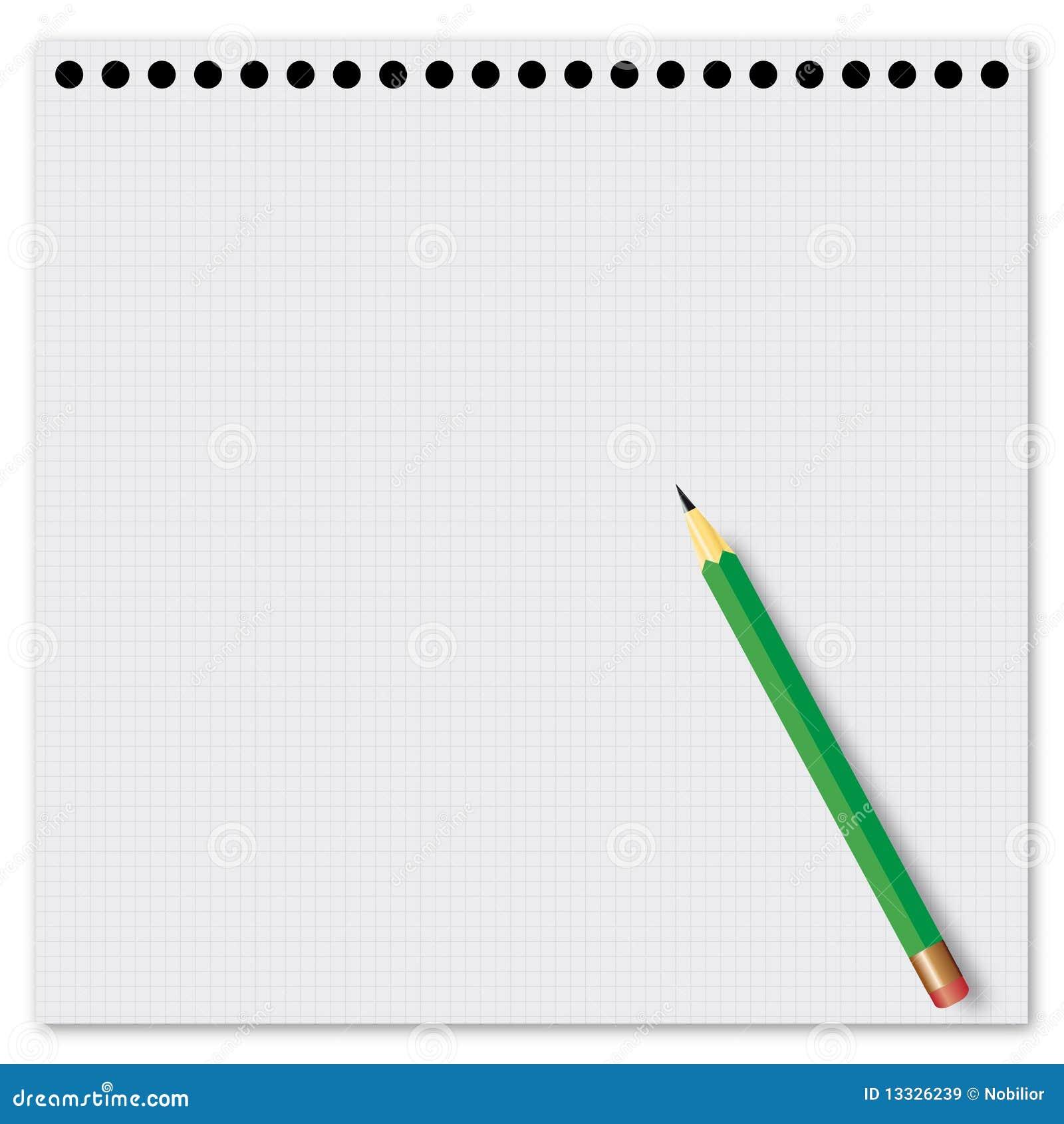 Z zielonym ołówkiem papierowy prześcieradło