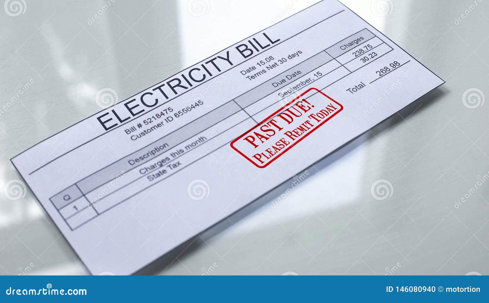 Za - należną foką stemplującą na elektryczność rachunku, miesięcy koszty, zapłata dla usług