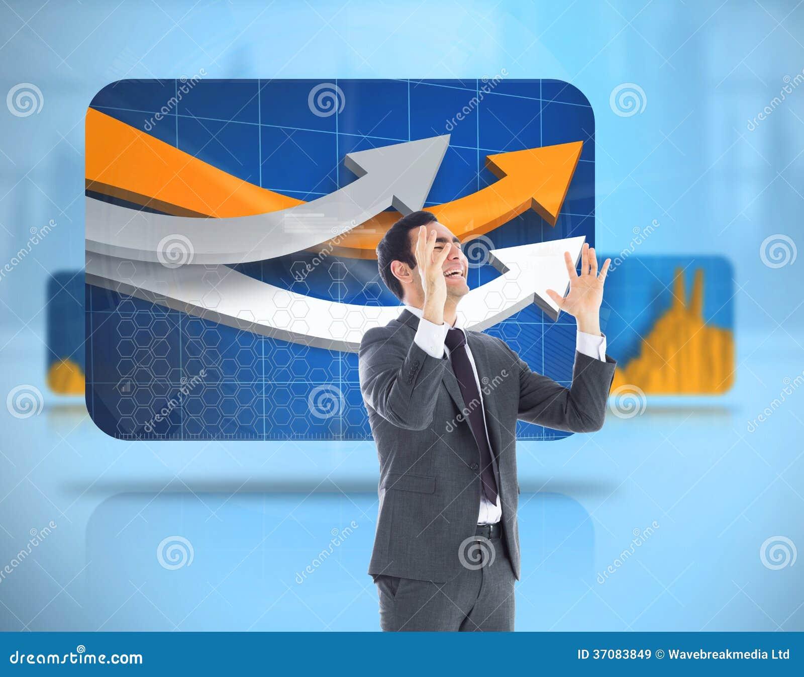Download Zaakcentowany Biznesmen Z Rękami Podnosić Obraz Stock - Obraz złożonej z interfejs, gospodarka: 37083849