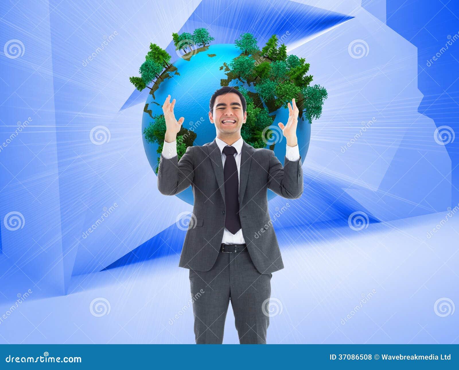 Download Zaakcentowany Biznesmen Z Rękami Podnosić Zdjęcie Stock - Obraz złożonej z biznesmen, planeta: 37086508