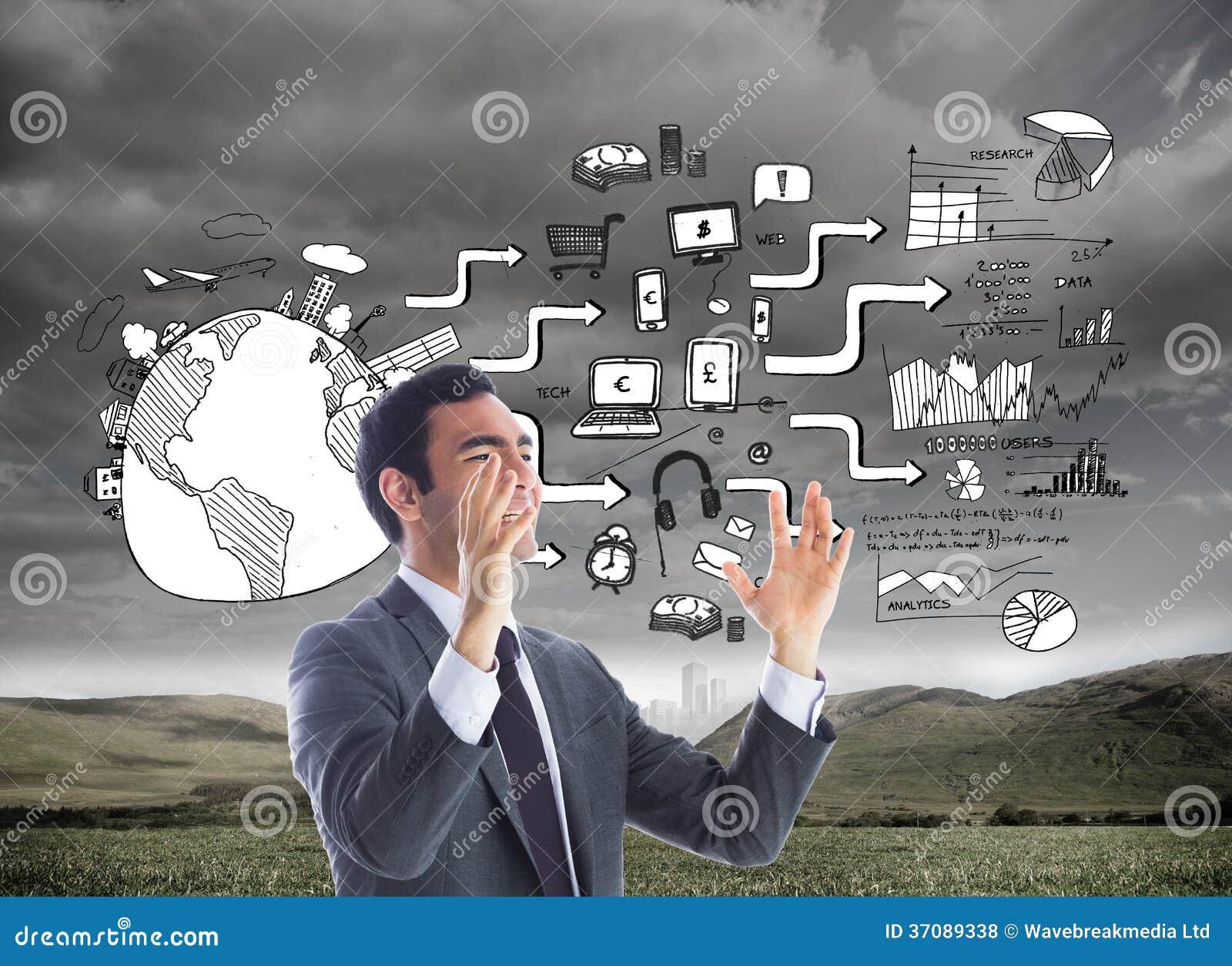 Download Zaakcentowany Biznesmen Z Rękami Podnosić Zdjęcie Stock - Obraz złożonej z komputer, ziemia: 37089338