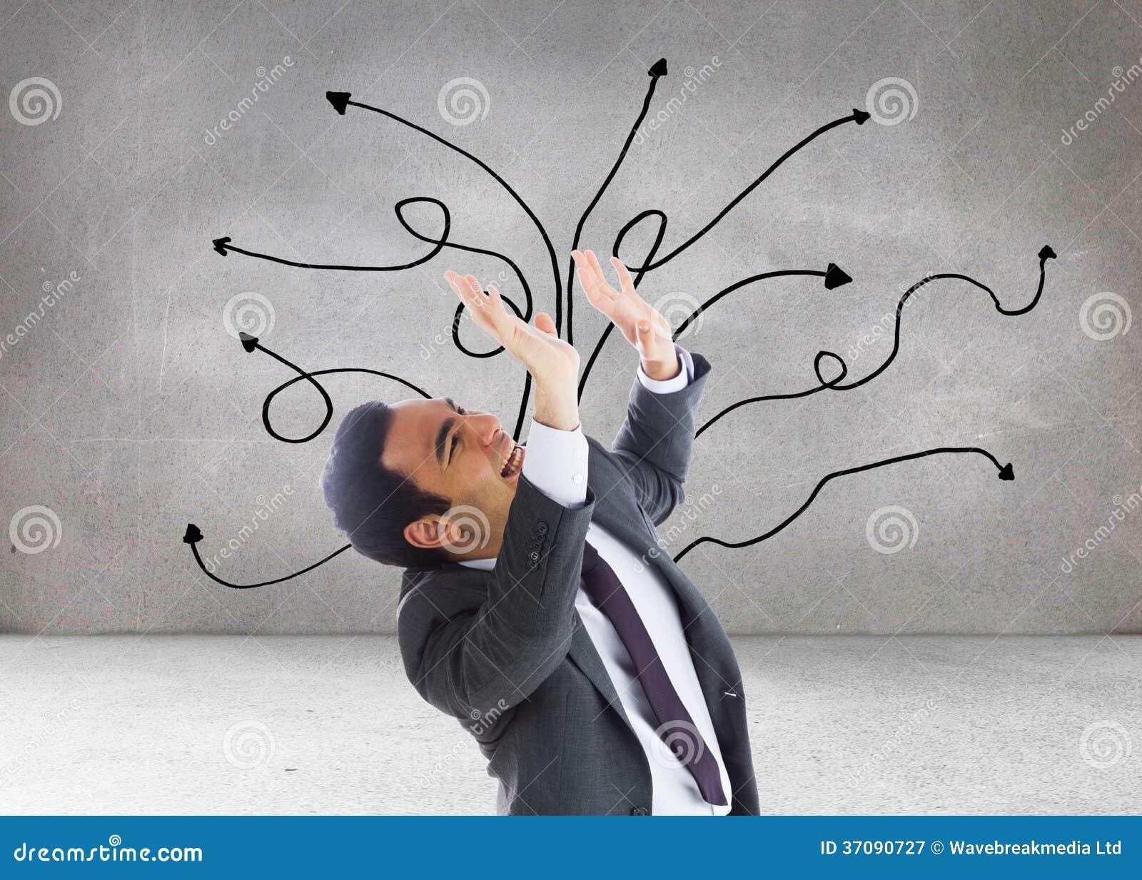 Download Zaakcentowany Biznesmen Z Rękami Podnosić Obraz Stock - Obraz złożonej z mężczyzna, brąz: 37090727