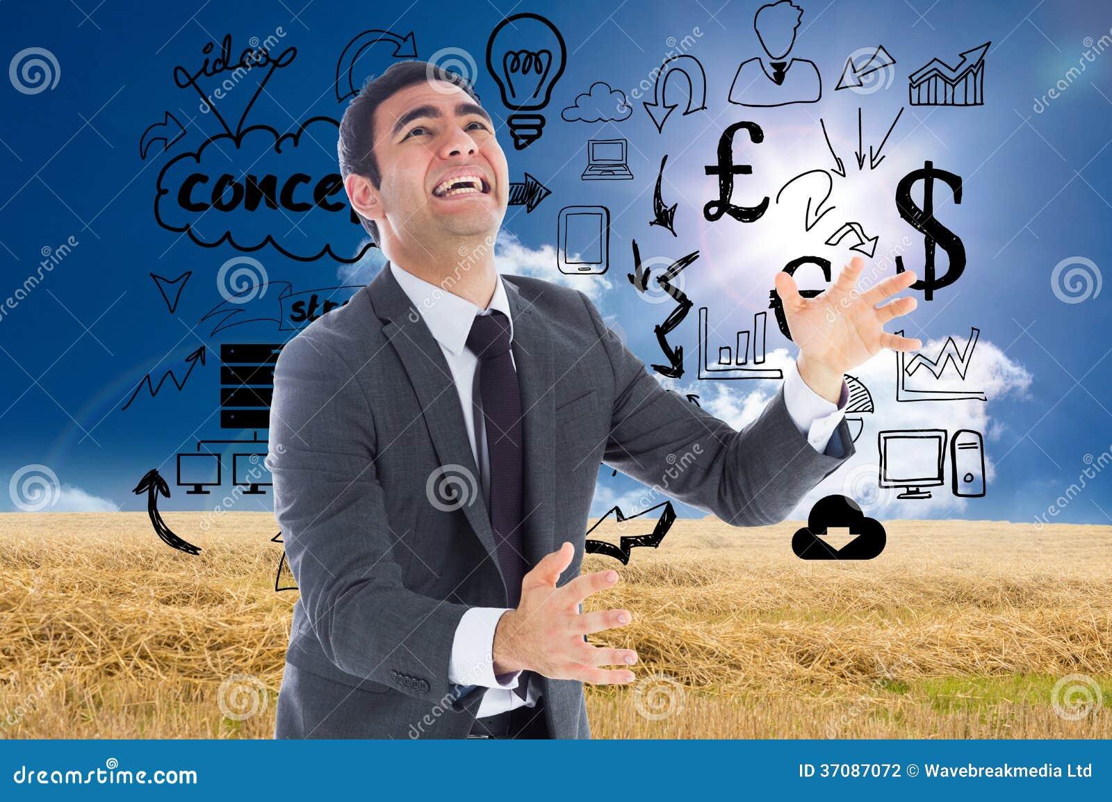 Download Zaakcentowany Biznesmena łapanie Zdjęcie Stock - Obraz złożonej z digitalis, pomysły: 37087072