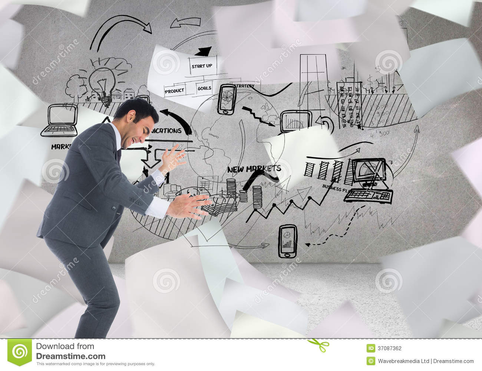 Download Zaakcentowany Biznesmena łapanie Zdjęcie Stock - Obraz złożonej z rynek, komputer: 37087362