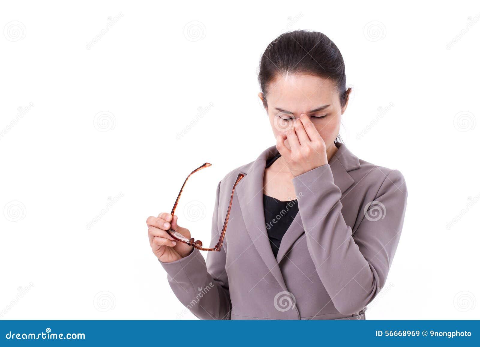 Zaakcentowany bizneswoman cierpi od migreny, umysłowa choroba
