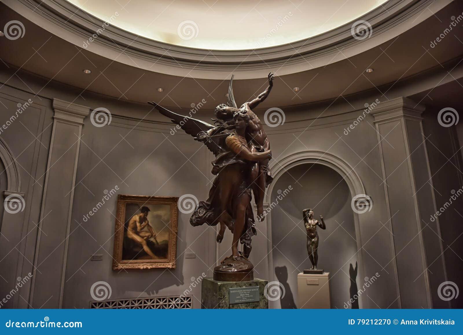 Zaal met kunstwerken, beeldhouwwerk, Nationale kunstgalerie Washington
