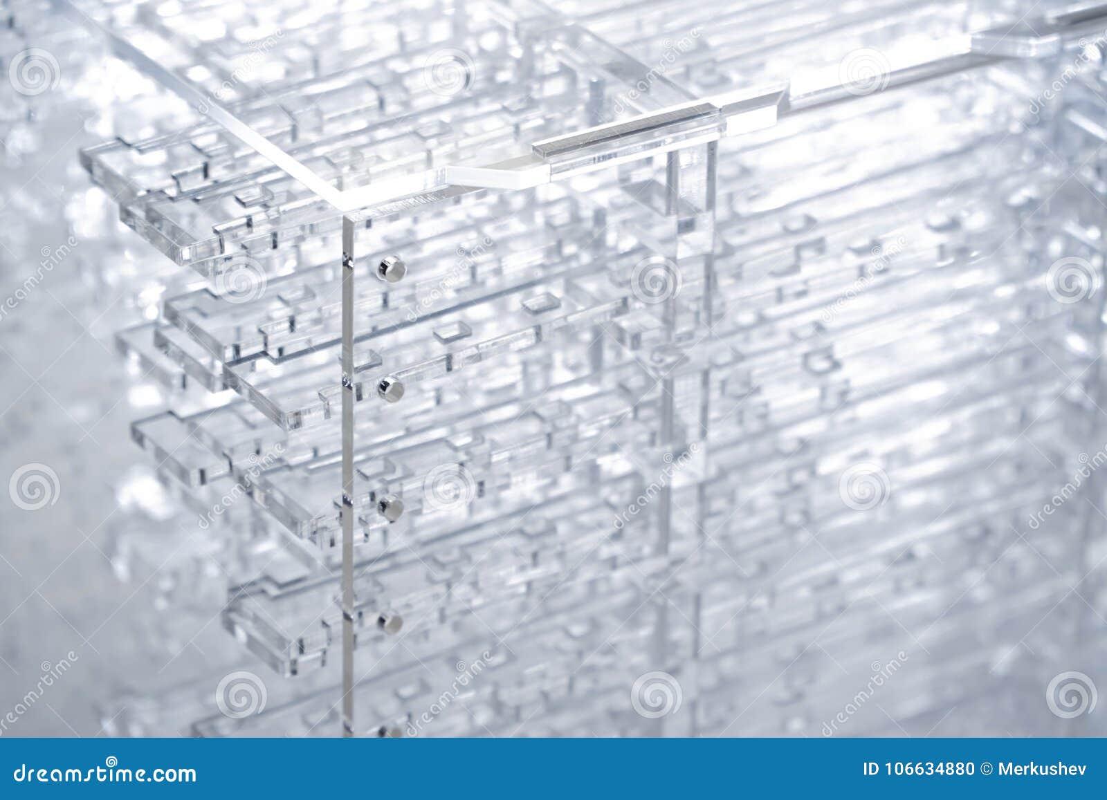 Zaawansowany technicznie abstrakcjonistyczny tło Szczegóły przejrzysty klingeryt lub szkło Laserowy rozcięcie plexiglass