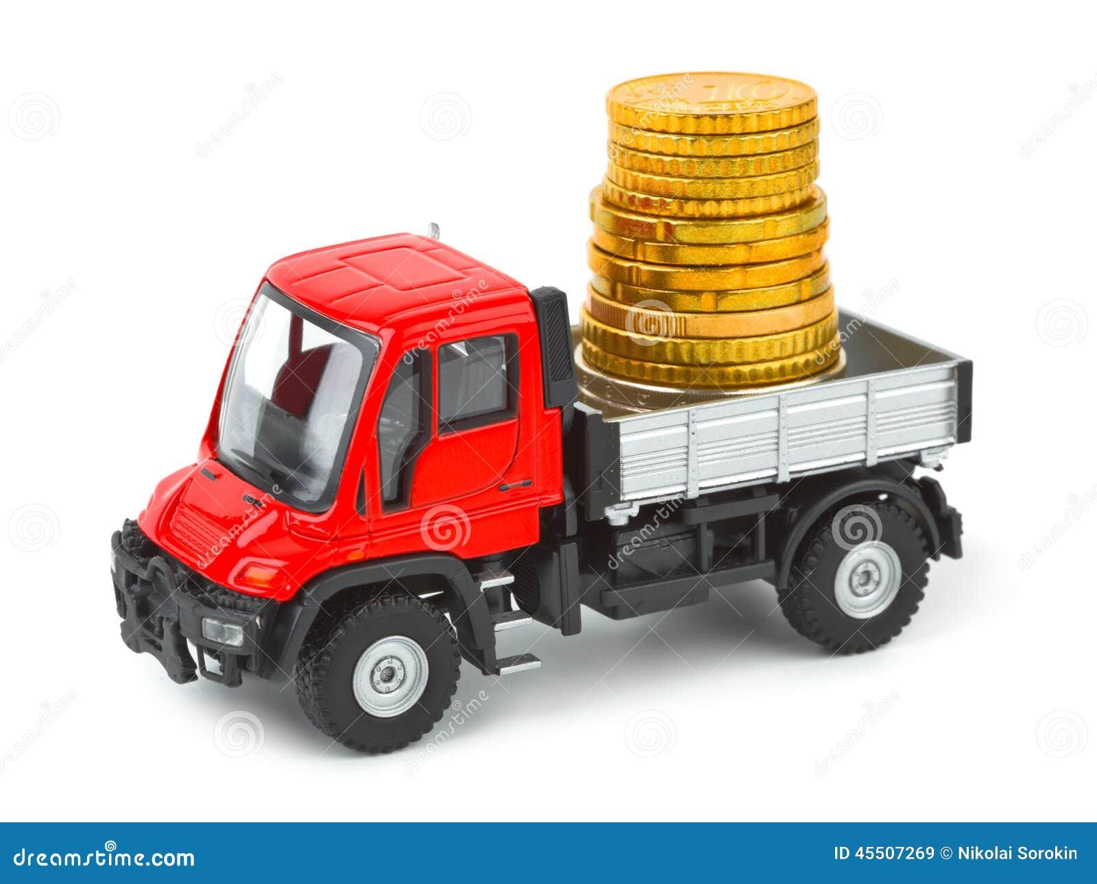 Zabawkarska ciężarówka z pieniądze