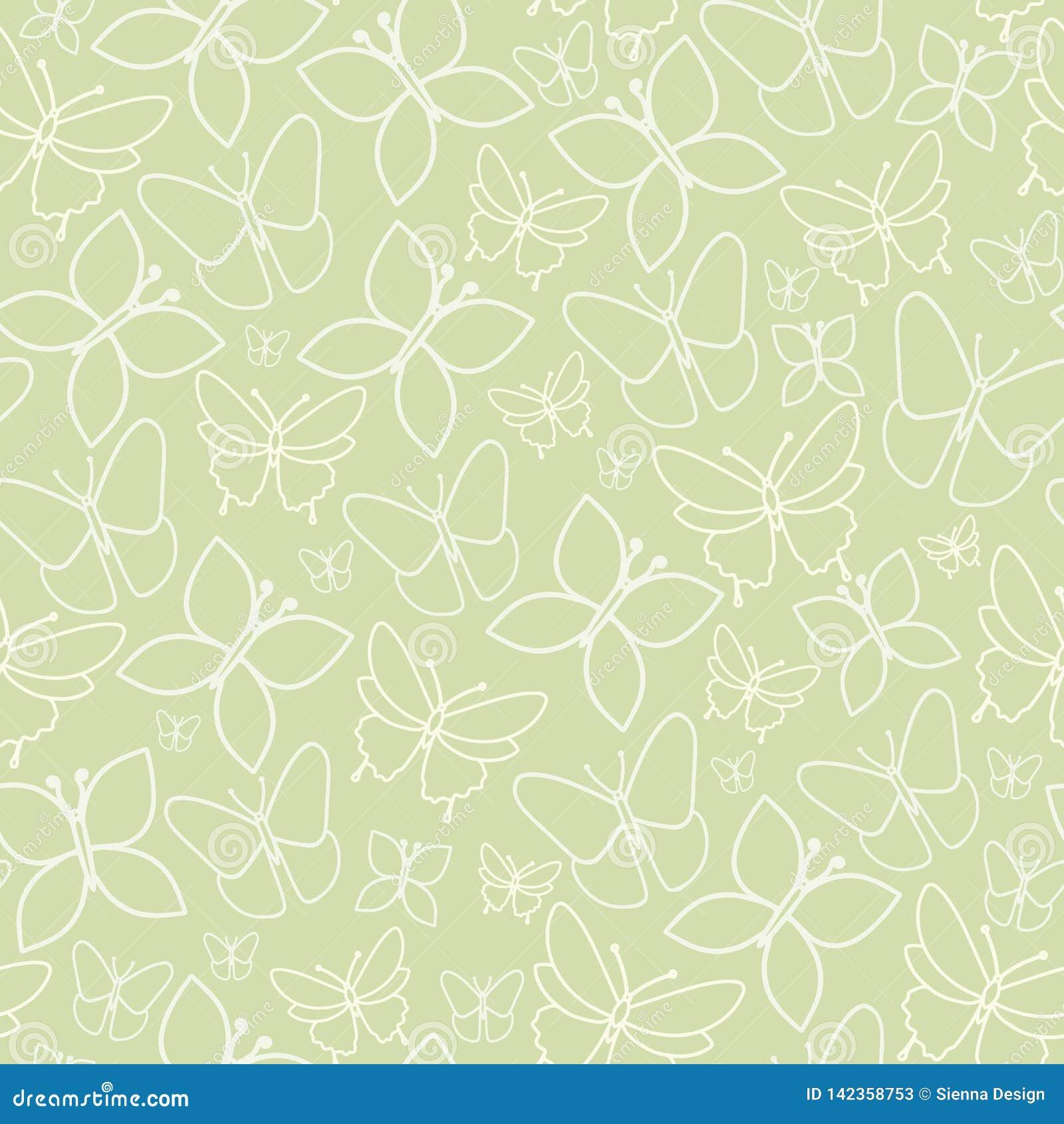 Zabawy Zielona Motylia Bezszwowa Deseniowa tekstura