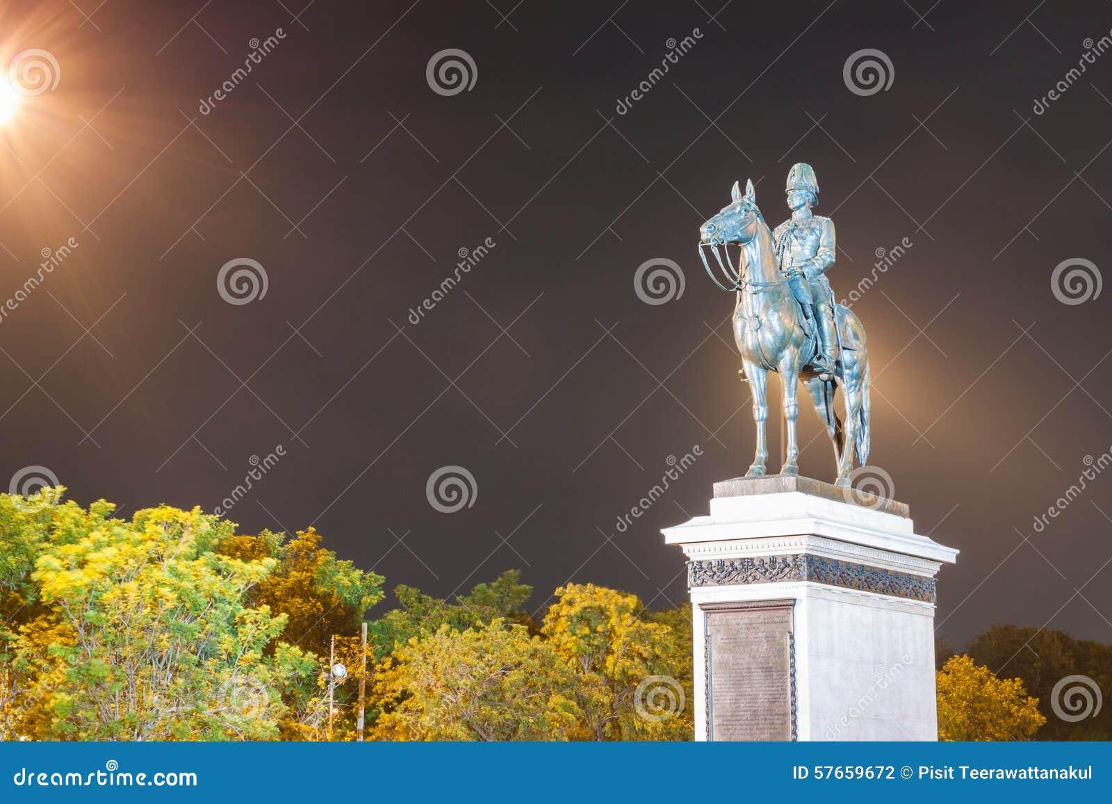Zabytek królewiątka Rama V Equestrian Bangkok Tajlandia