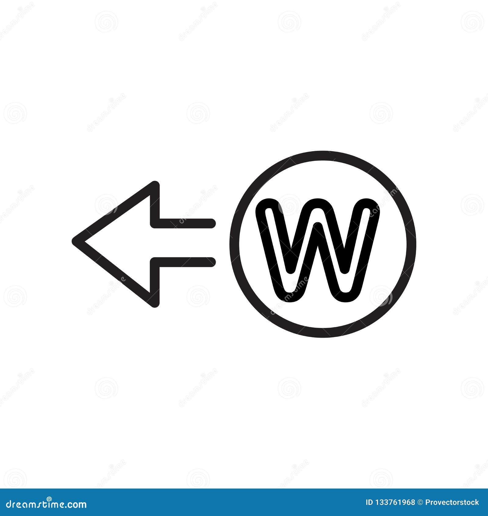 Zachodni ikona wektoru znak i symbol odizolowywający na białym tle, W
