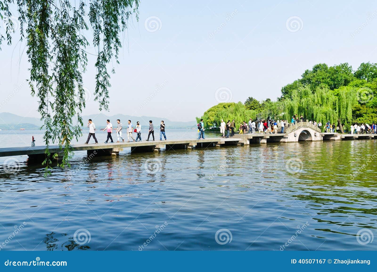 Zachodni jeziorna Hangzhou sceneria