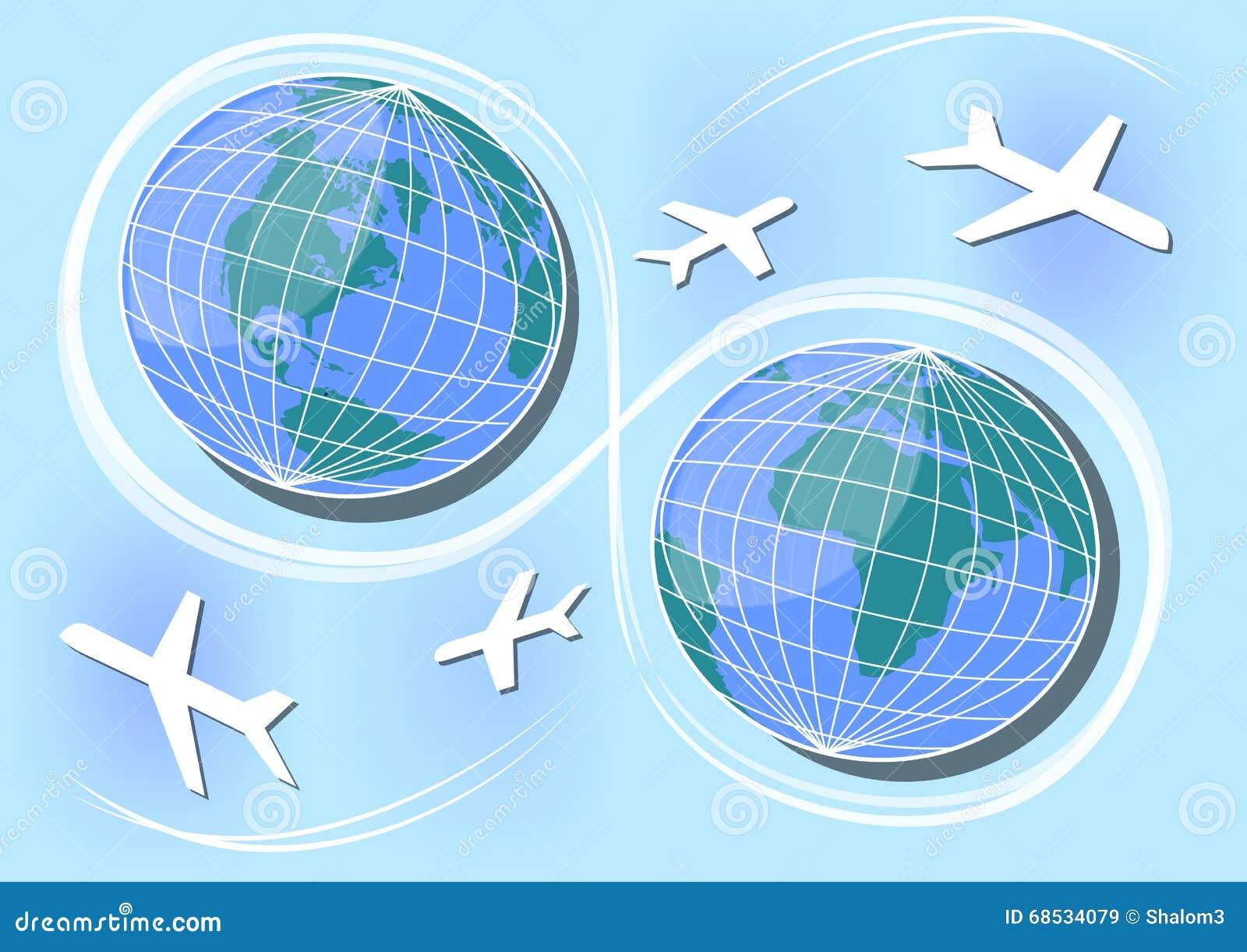 Zachodnia i Wschodnia hemisfera lotnicze ścieżki i związki w świacie, Plakatowy projekt dla agenci podróży, Międzynarodowy dzień