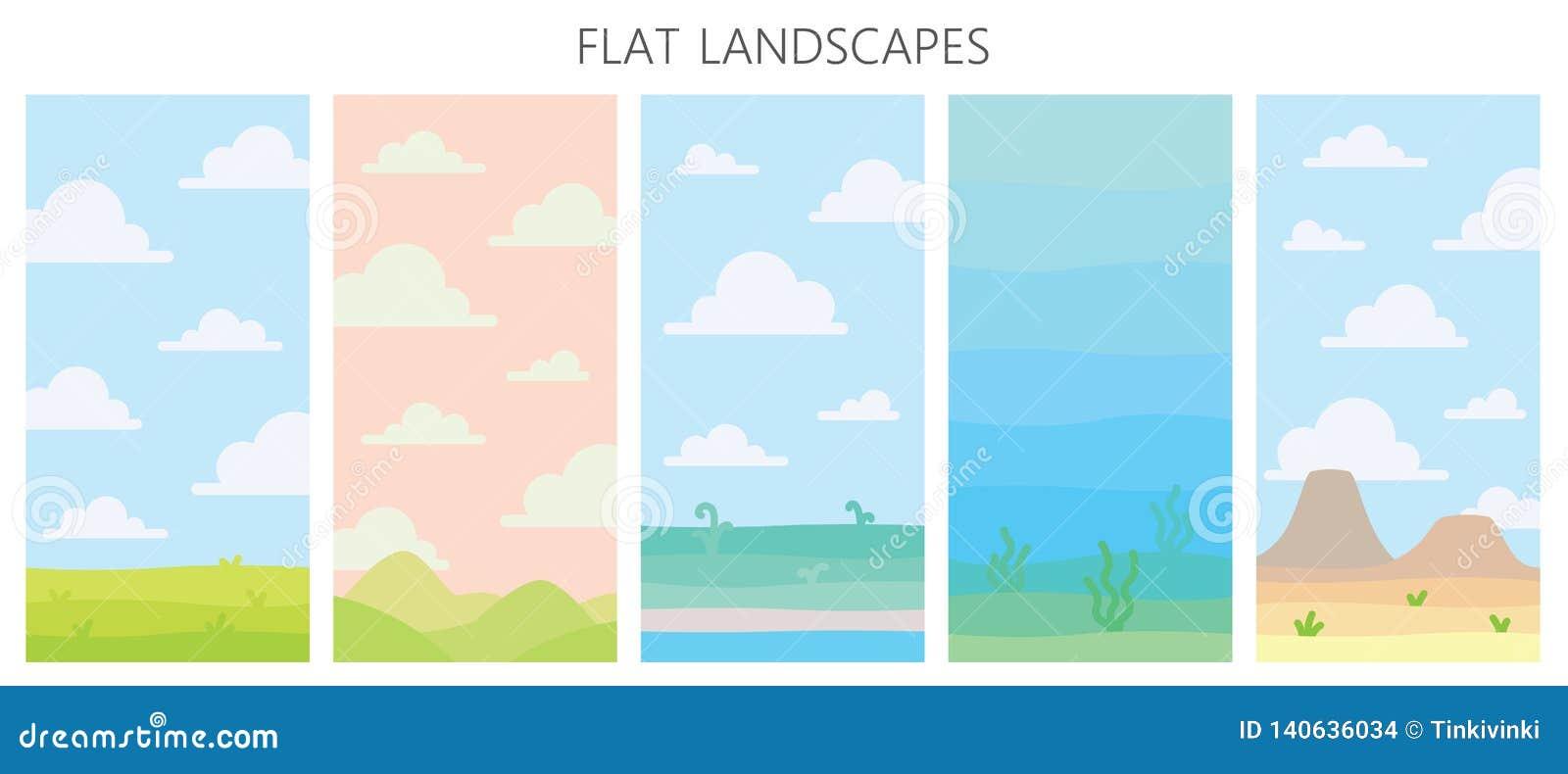 Zachte aardlandschappen Woestijn met bergen, groen de zomergebied, kust met installaties, onderwatermening met zeewier