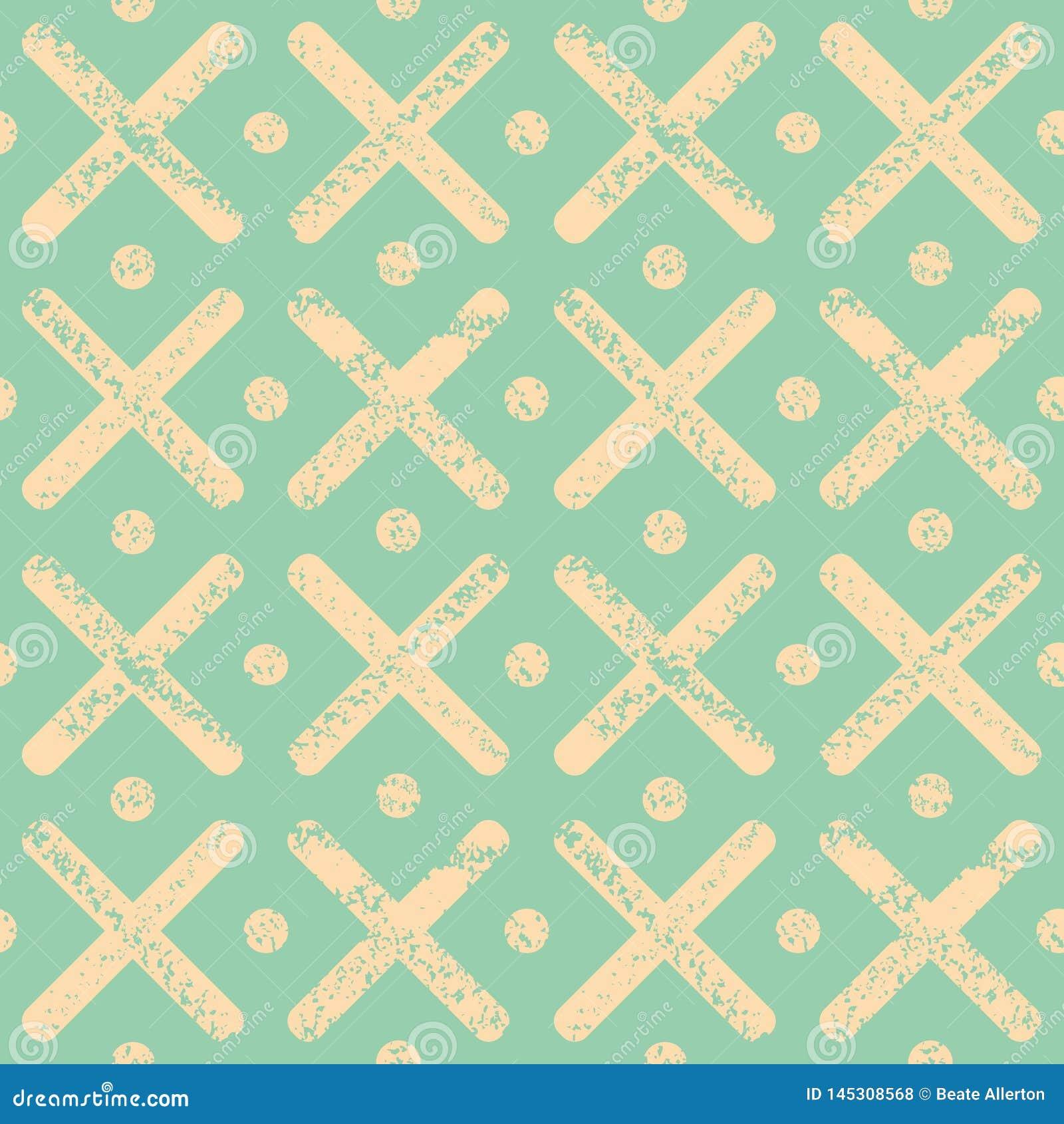 Zachte gele stippen en kruisen met geweven krijteffect Helder naadloos geometrisch vectorpatroon op groene munt