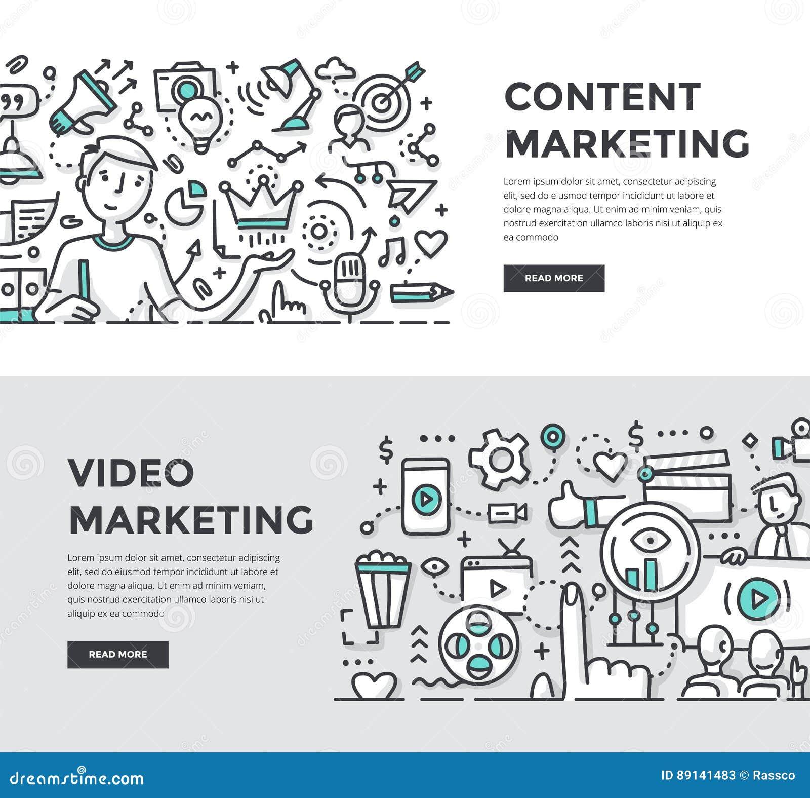 Zadowoleni & Wideo marketingu Doodle sztandary