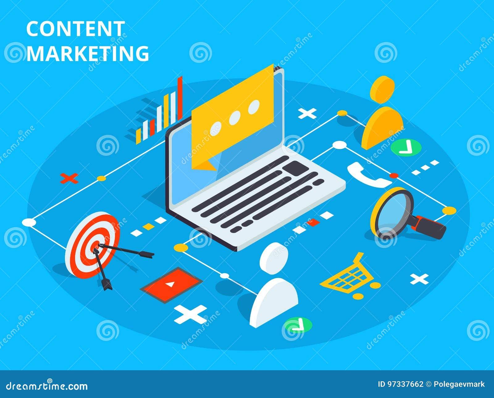 Zadowolona marketingowa isometric wektorowa pojęcie ilustracja Biznes