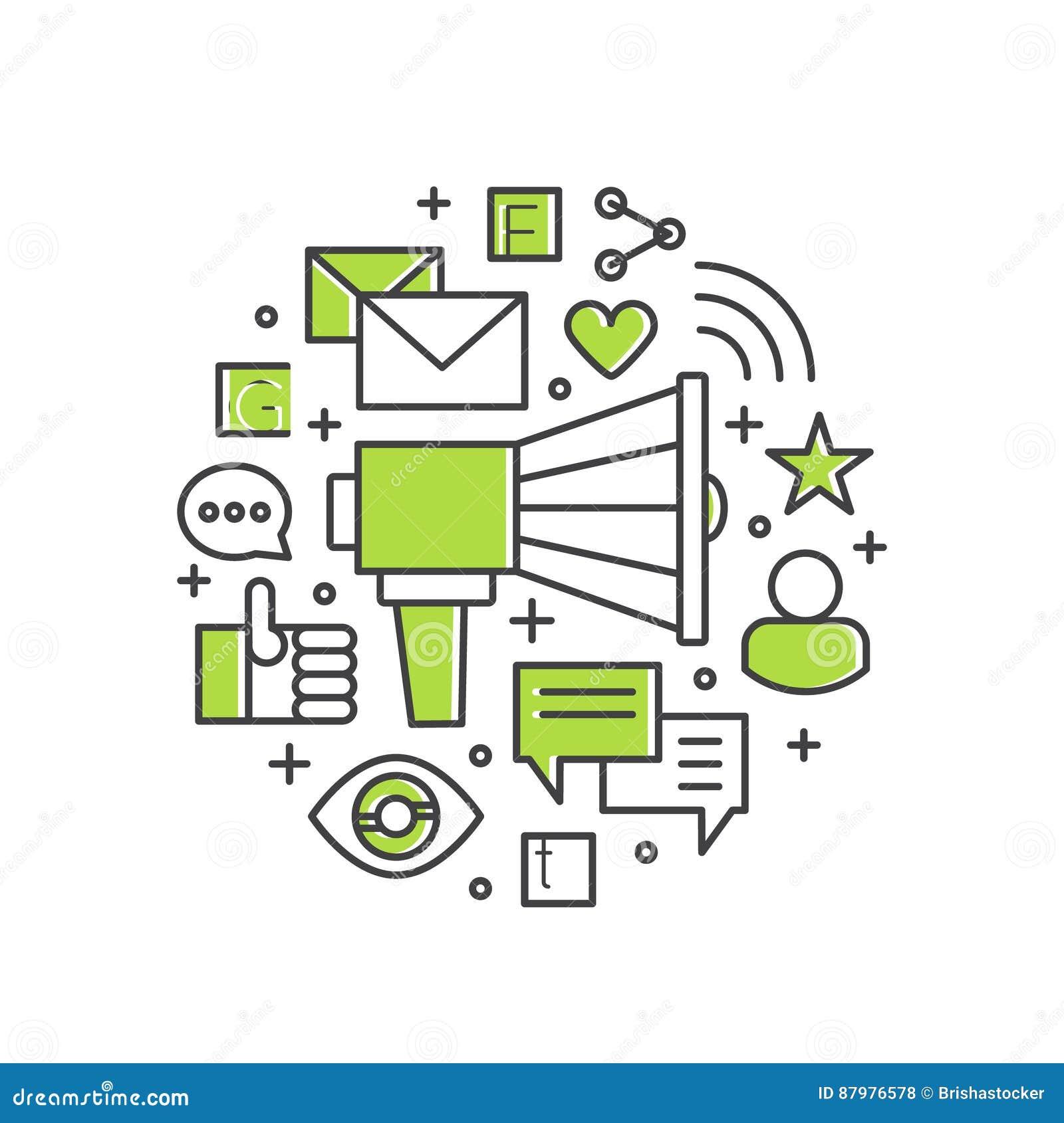 Zadowolona promocja i reklama proces Głośnik lub megafon z e-mailowym marketingiem i Przyjazny Dla Użytkownika powiadomieniami