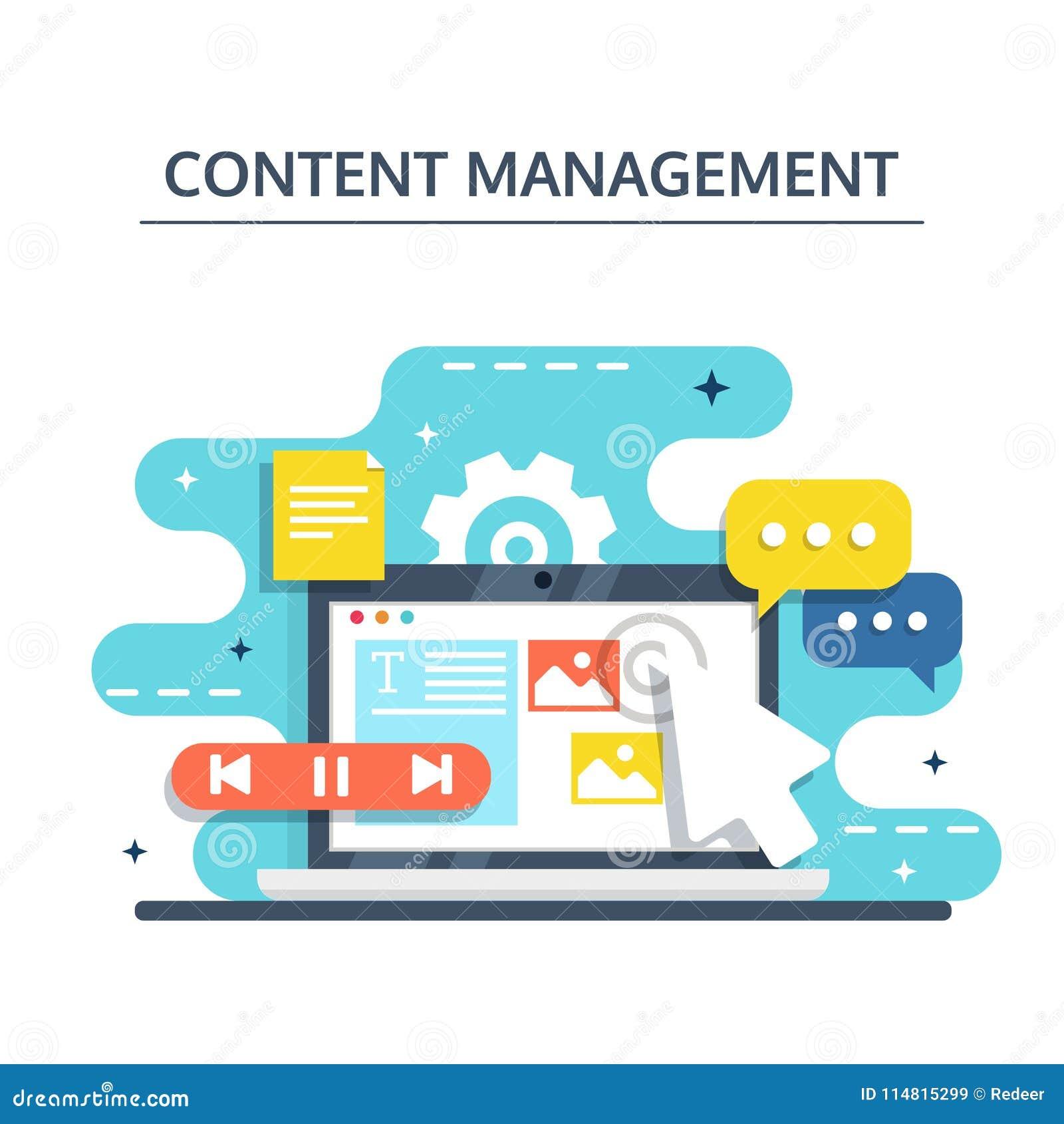 Zadowolony zarządzanie i Blogging pojęcie w płaskim projekcie Tworzyć, wprowadzać na rynek i dzielić cyfrowy - wektorowa ilustrac