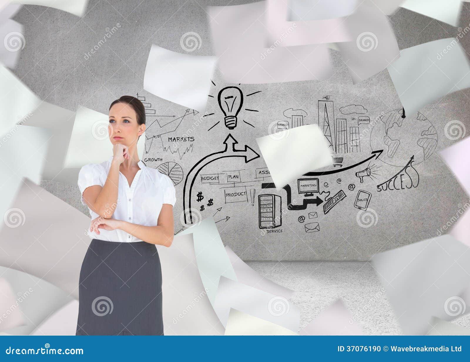 Download Zadumany Elegancki Bizneswomanu Pozować Zdjęcie Stock - Obraz złożonej z kobiety, mądrze: 37076190