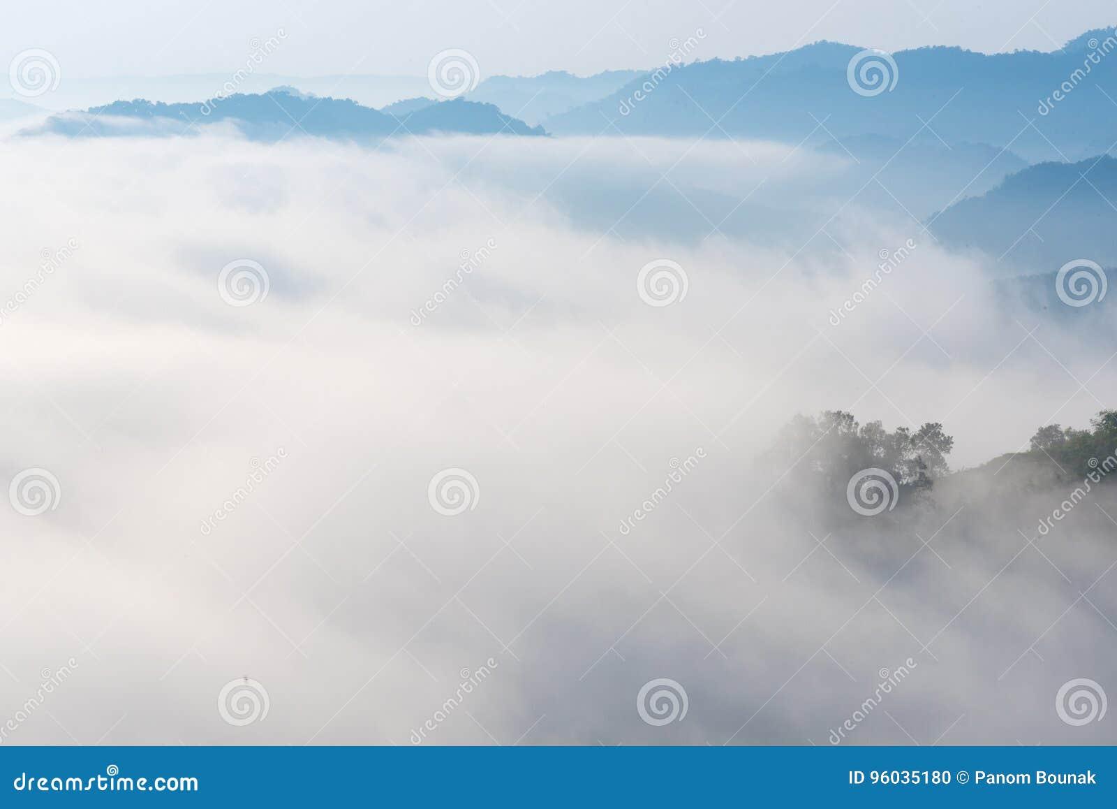 Zadziwiająca mgła rusza się nad natur górami