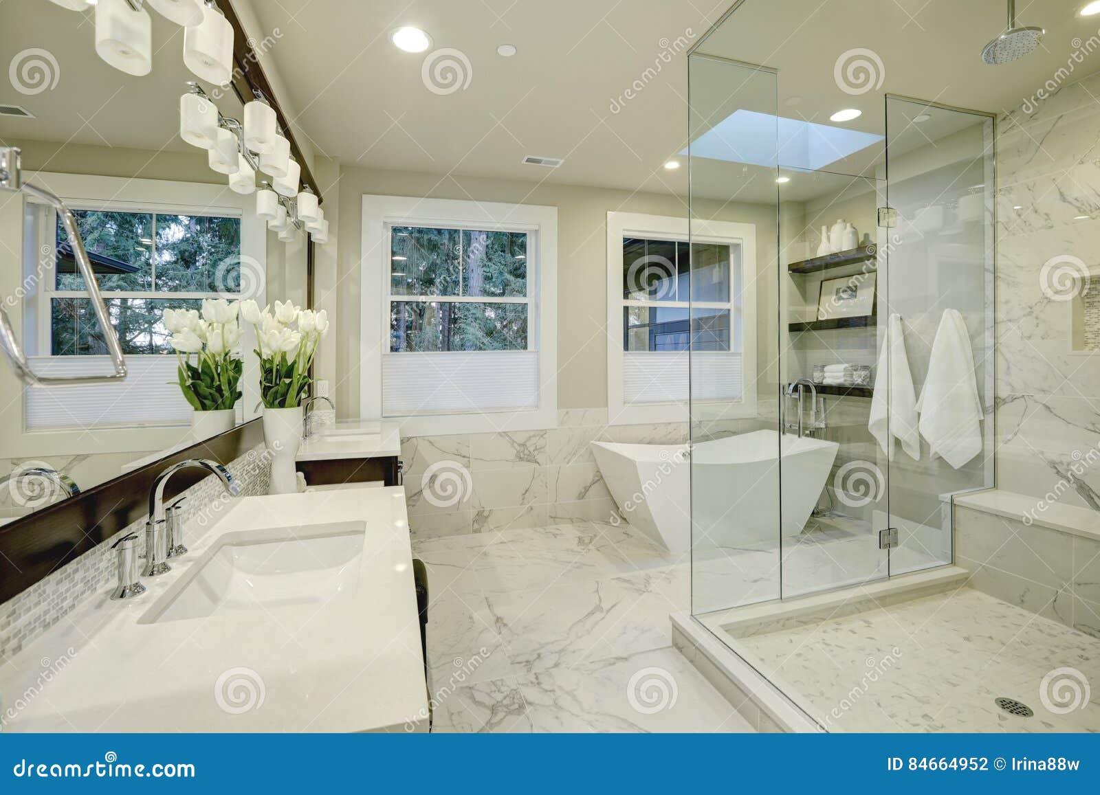 Zadziwiająca mistrzowska łazienka z wielkim szkłem w prysznic