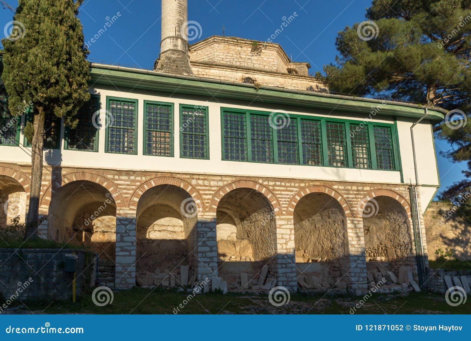 Zadziwiający zmierzchu widok Aslan Pasha meczet w kasztelu miasto Ioannina, Epirus, Grecja