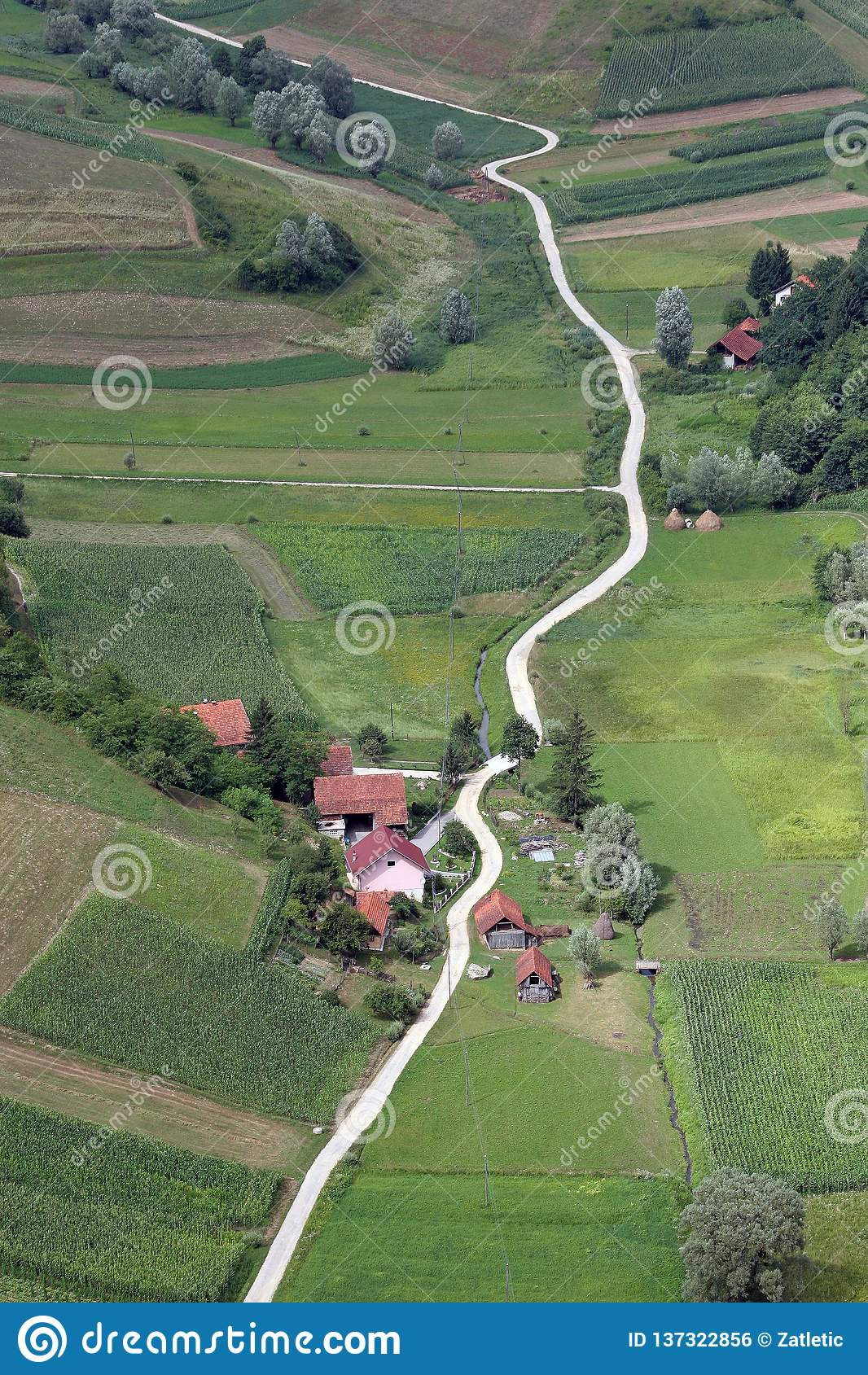 Idyllic countryside, Hills and meadows in Zagorje Region, Croatia