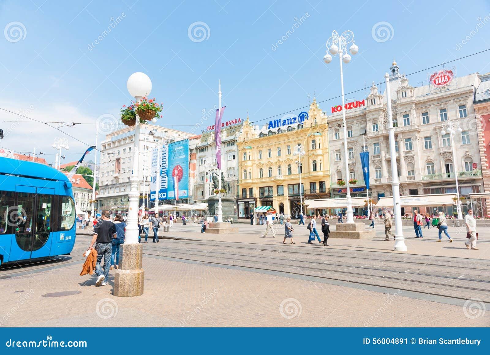 Zagreb Capital Croacia A Praca Da Cidade Quadrado Do  E  A Do Ia Do De Jelaa Da Proibicao Estava Listada Entre Os  Quadrados Os Mais Bonitos Em Europa