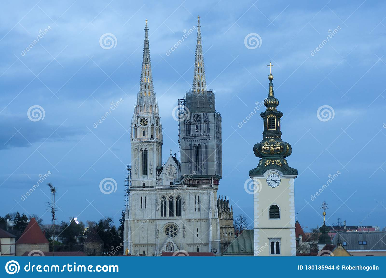 View of Zagreb Cathedral , Croatia.