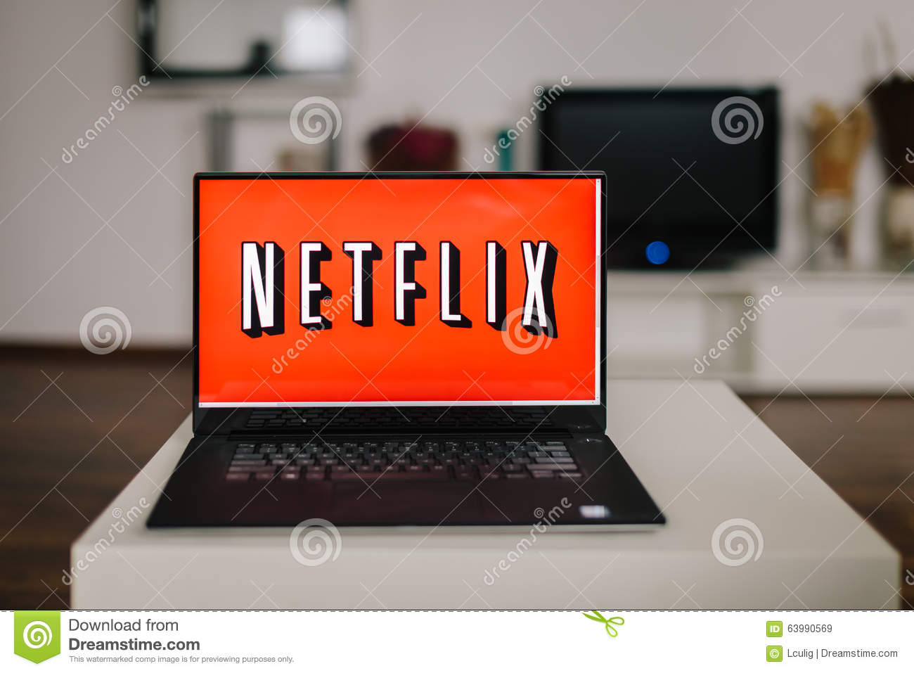 ZAGREB, CROATIA - DECEMBER 20, 2015: Netflix logo on laptop screen. Netflix is an international provider of on-demand Internet str