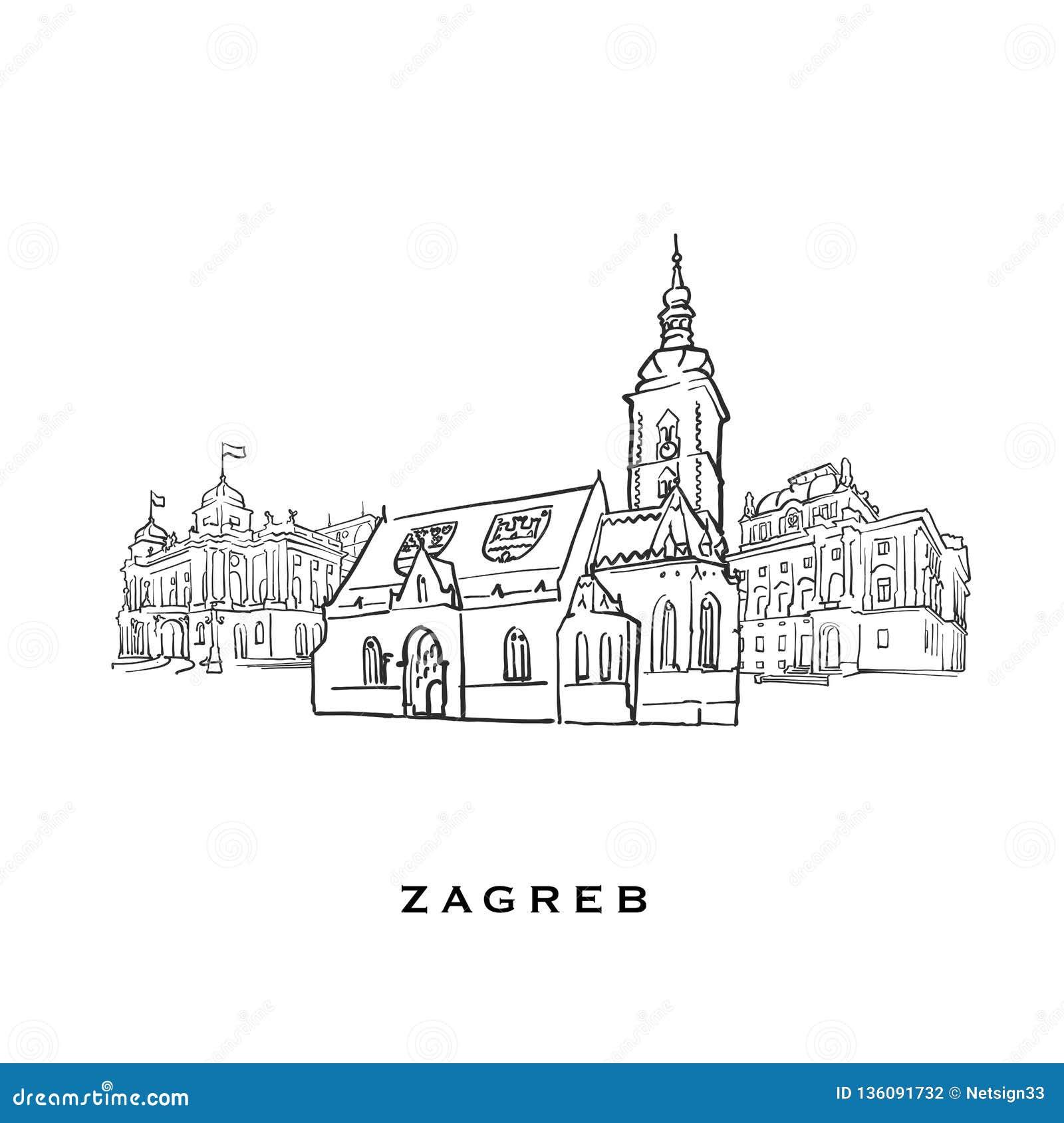 Zagreb Croatia Famous Architecture Stock Vector - Illustration of