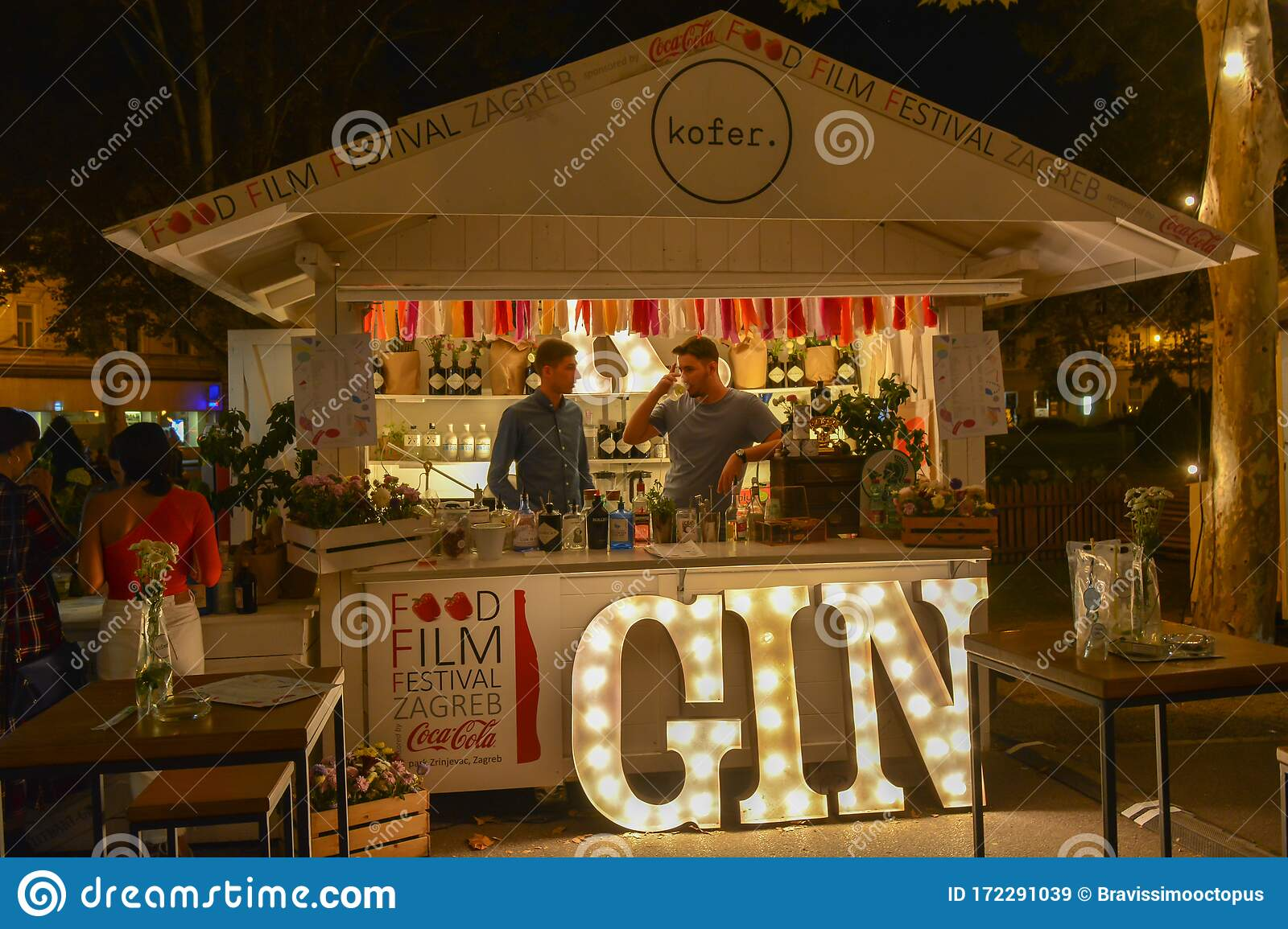 Zagreb Croatia September 12 2019 A Stand With Two Unidentified Man Of The Zagreb Food Film Festival Movies And Fresh Drinks Editorial Stock Image Image Of Lights Festival 172291039
