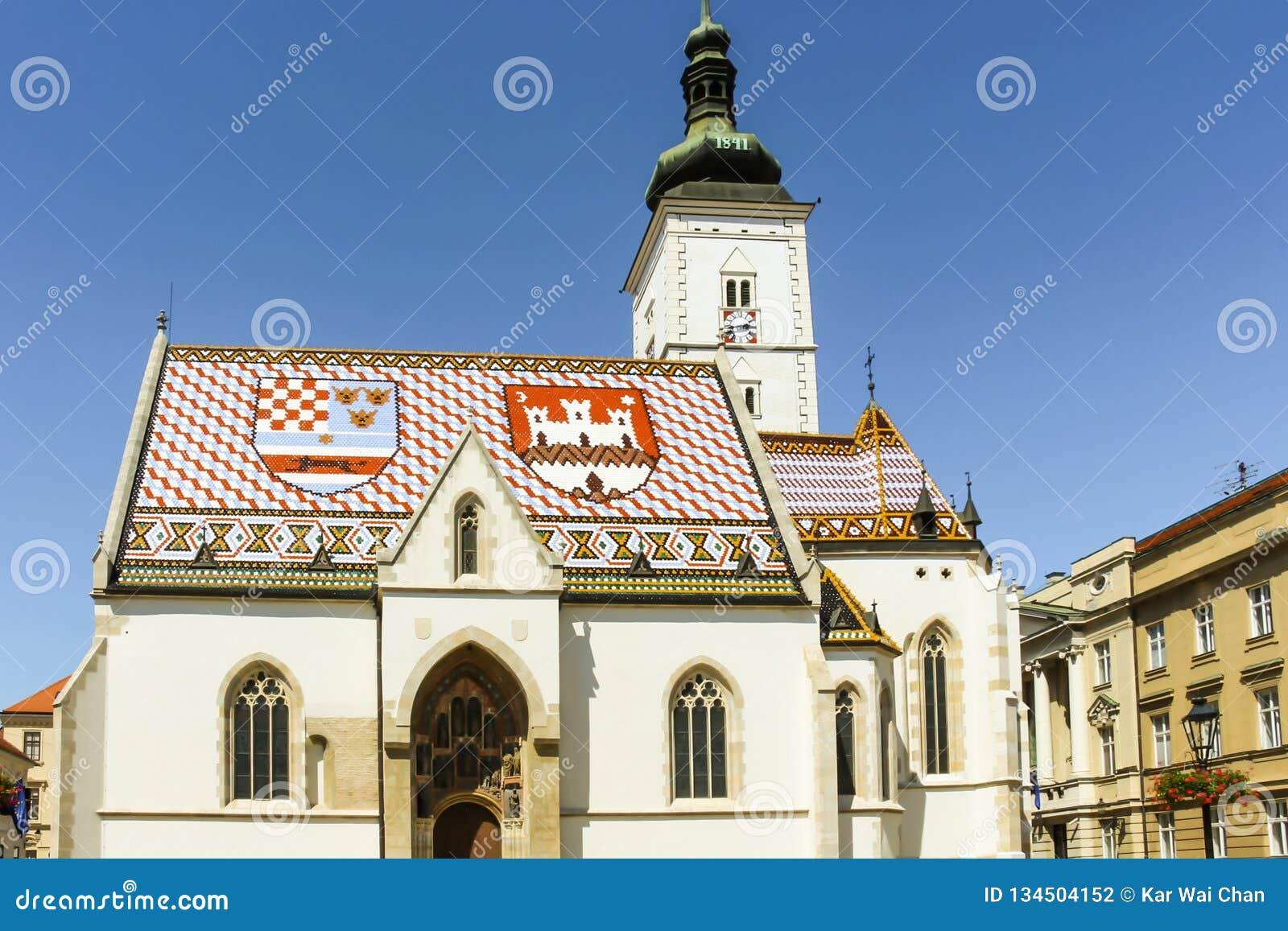 Zagreb, Kroatië - 2013: St de Kerk van het Teken is de parochiekerk van oud die Zagreb, in St het Vierkant van het Teken wordt ge