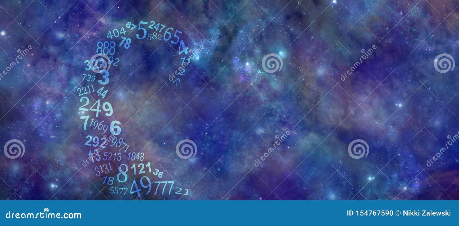 Zahlen Vortexing Kosmische Numerology-Hintergrund-Fahne