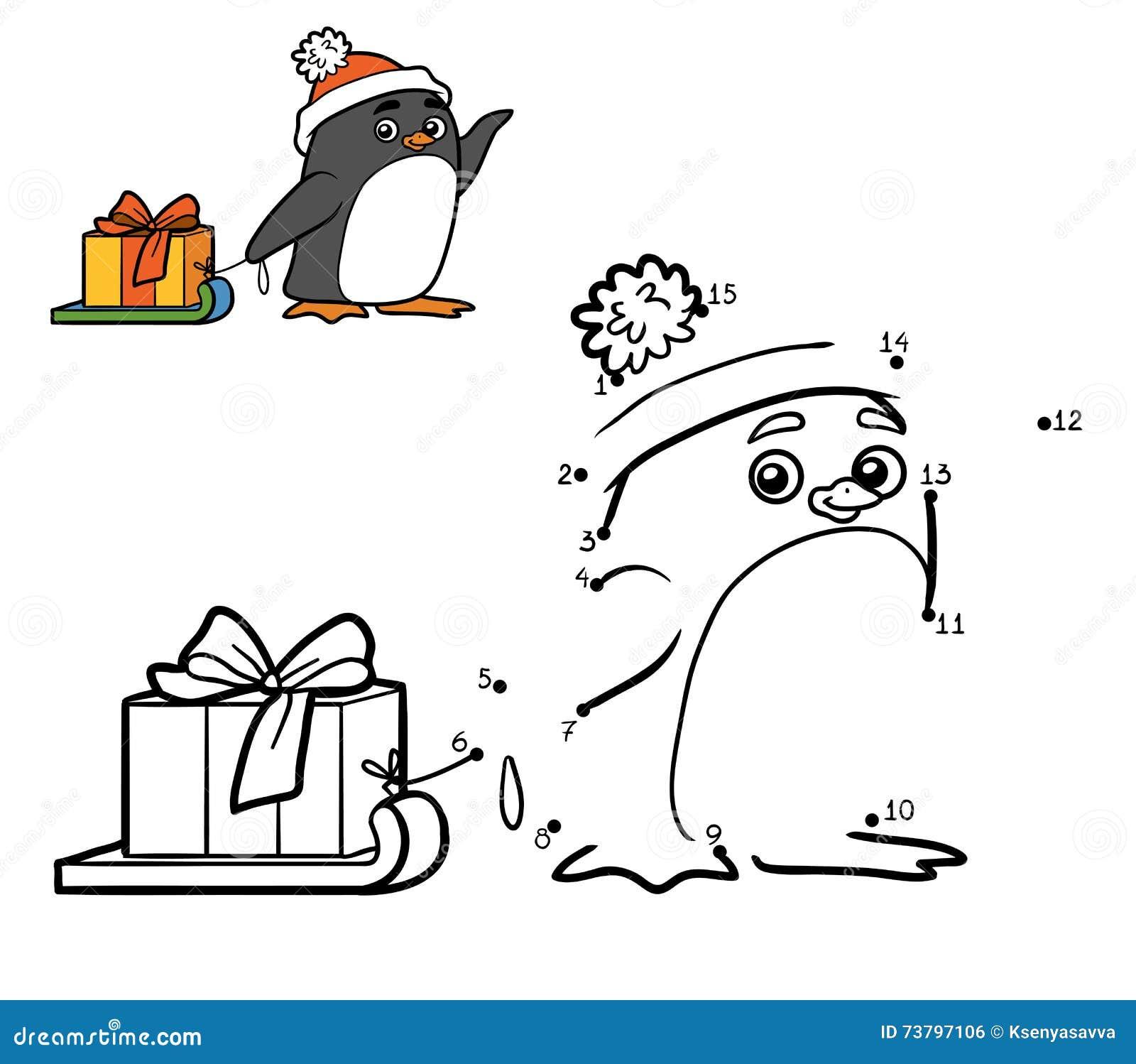 Zahlenspiel Für Kinder Pinguin- Und Weihnachtsgeschenk Vektor ...